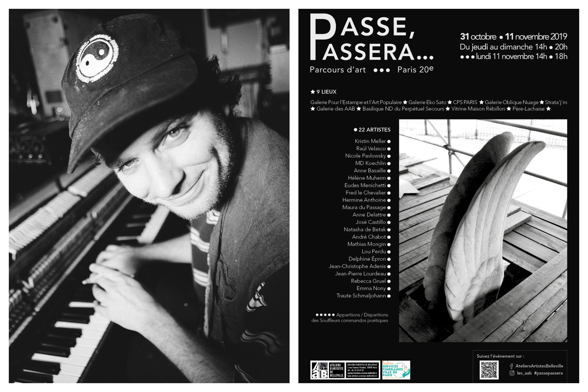 A black and white photograph of DJ Flume playing in Paris in November (left) and a poster for an art event in Belleville (right).