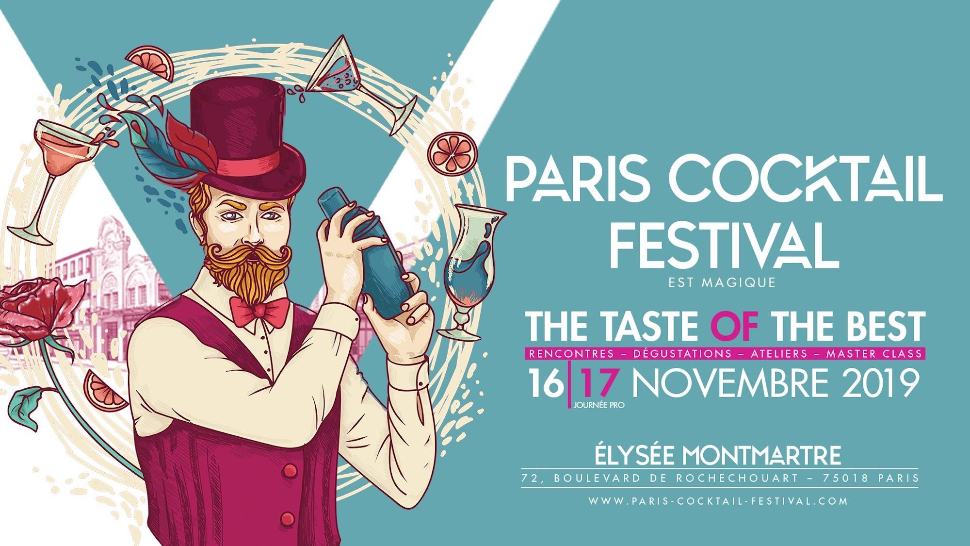 The poster for Paris Cocktail Festival which takes place each November at the Elysée Montmartre.