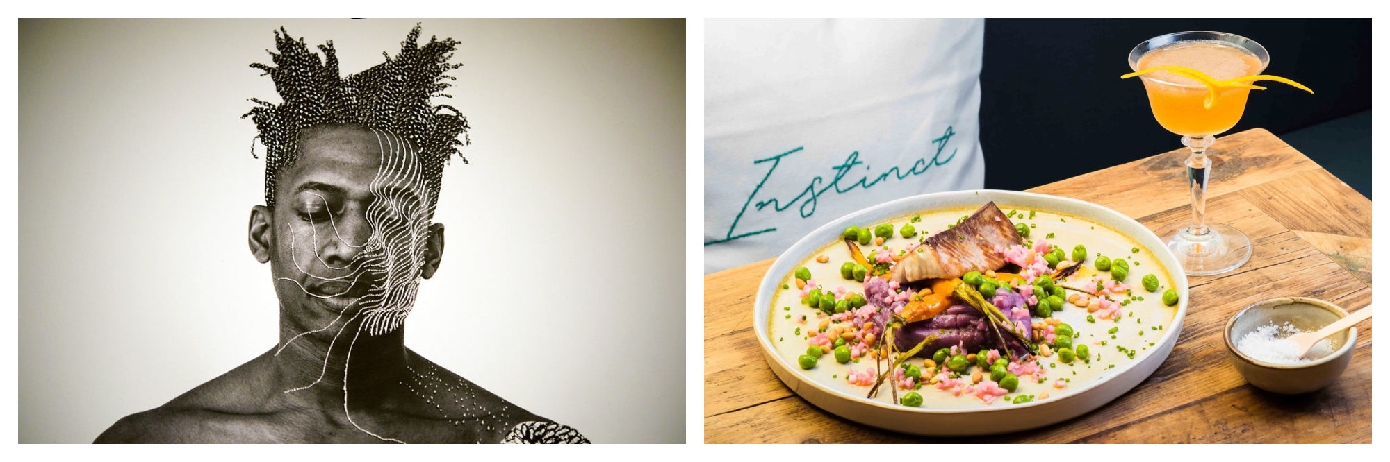 A black and white photo of a black man with his a spider's web drawn in top from Paris Photo event (left). A plate of food at the Paris Cocktail Festival (right).