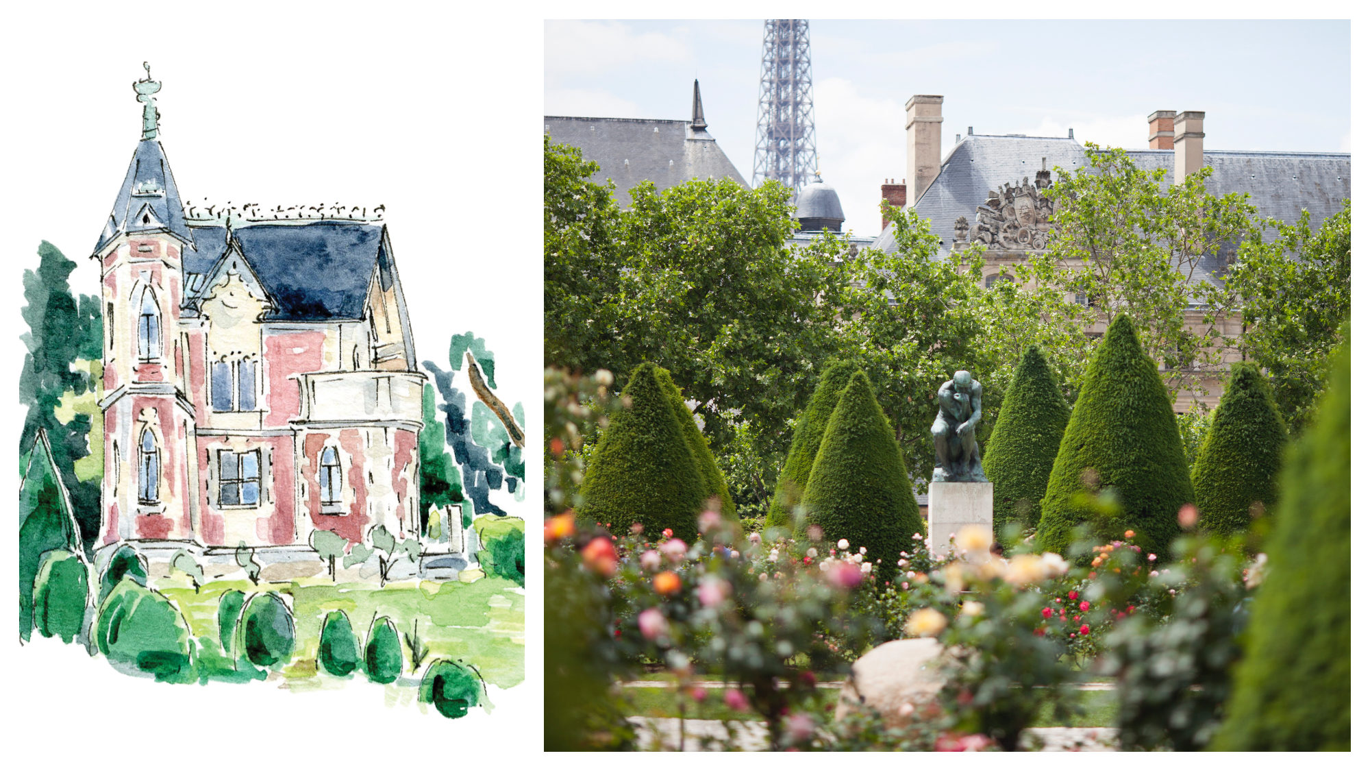 A sketch of the Monte Cristo chateau, Alexandre Dumas' home, now a museum, from illustrator Emma Jacobs' book Little(r) Museums of Paris (left). The Rodin Museum gardens with The Thinker sculpture among the trees (right).