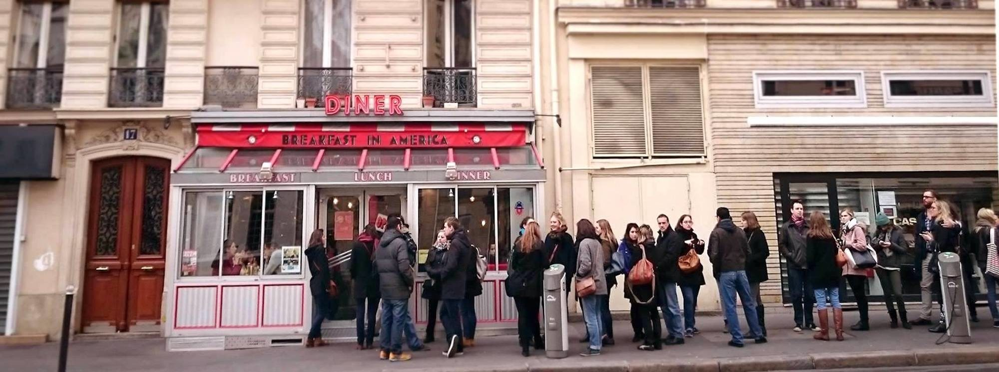The queue at Breakfast in America diner in Paris on Thanksgiving.
