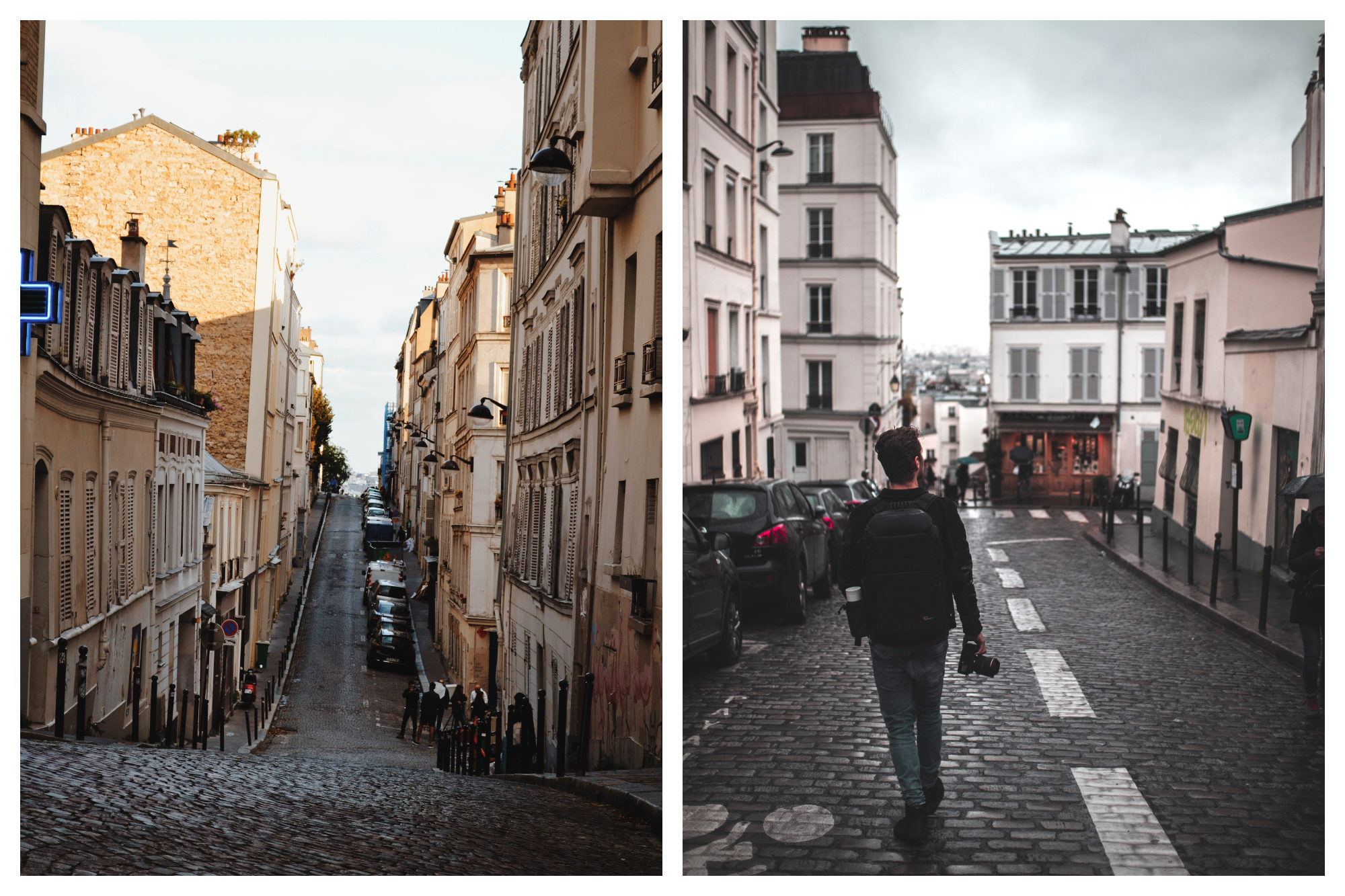 A street scene of Montmartre with a scenic curve in the road lined by crooked houses (left) and cobblestone streets of Montmartre with a man seen strolling from the back (right).