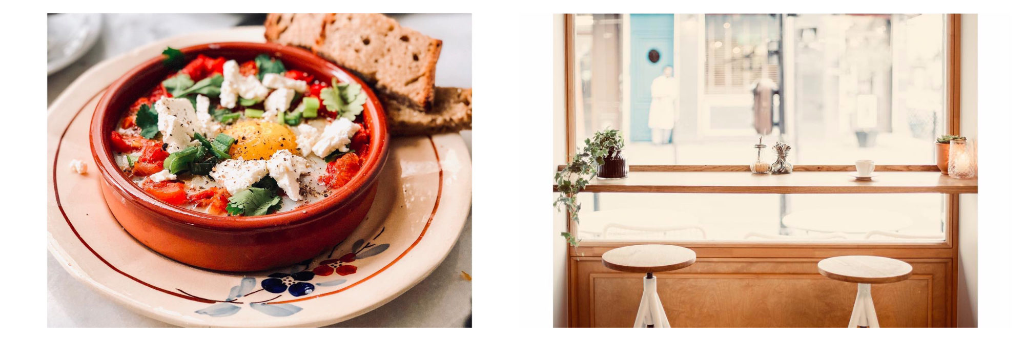 A feta dish in an earthen dish on a hand-painted plate (left) and window seating (right) at Café Pimpim in Montmartre on a Sunday.