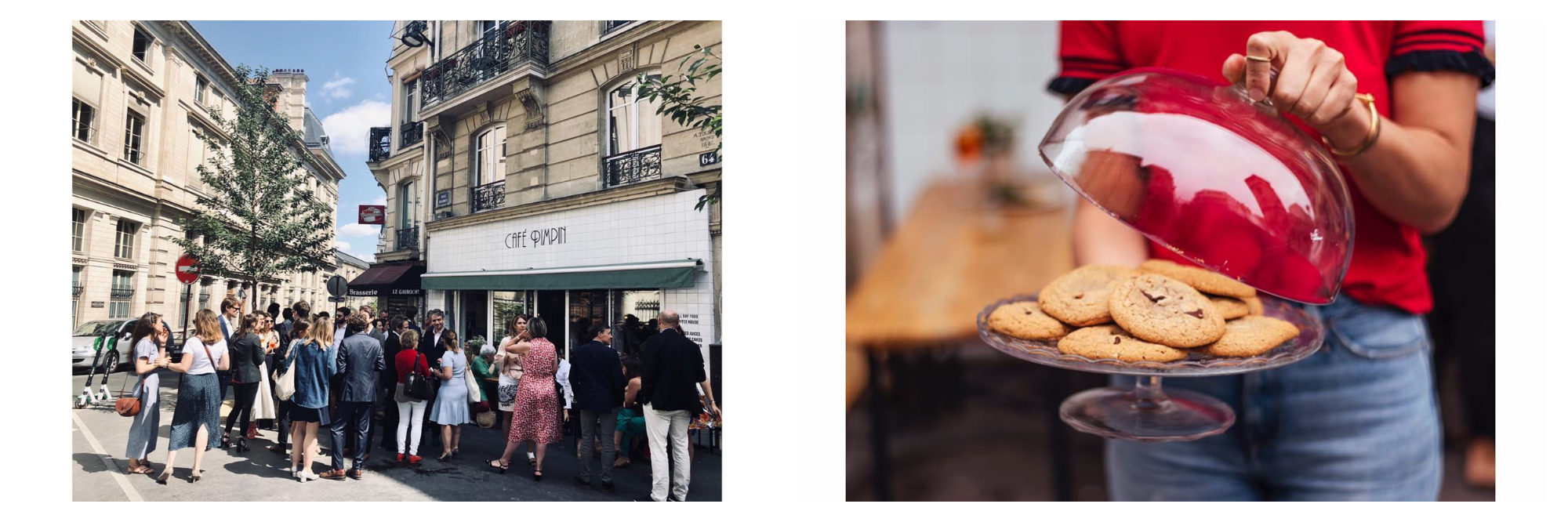 The queue outside Café Pimpim (left) and a woman holding freshly baked biscuits (right).
