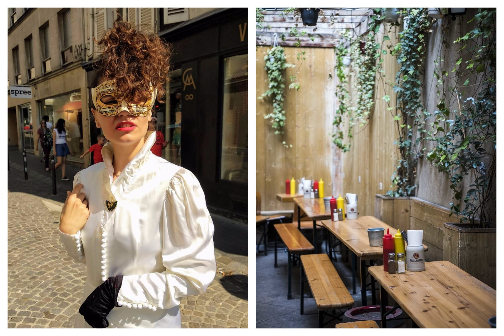A model wearing a mask and a Victorian style shirt from Chinemachine in Montmartre (left). The wooden tables and benches at Kiez Biergarten, which is open on Sundays in Paris (right).
