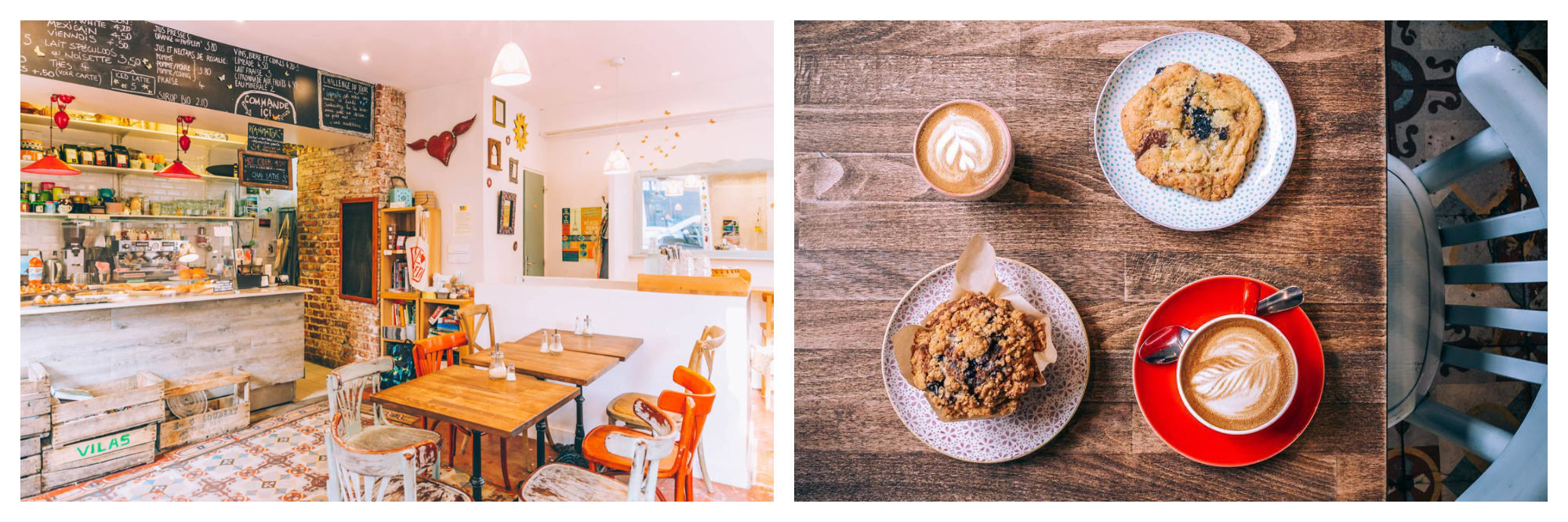 Inside Soul Kitchen, which is open all day Sunday in Montmartre in Paris (left). Cakes and coffee on a wooden table at Soul Kitchen in Montmartre (right).