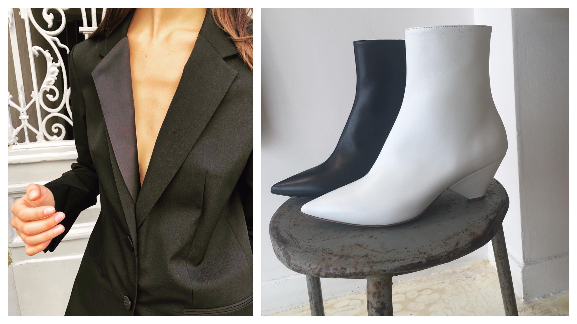 A grey and purple blazer (left) and black and white ankle boots (right) from Spree in Montmartre, which is open on Sundays in Paris.