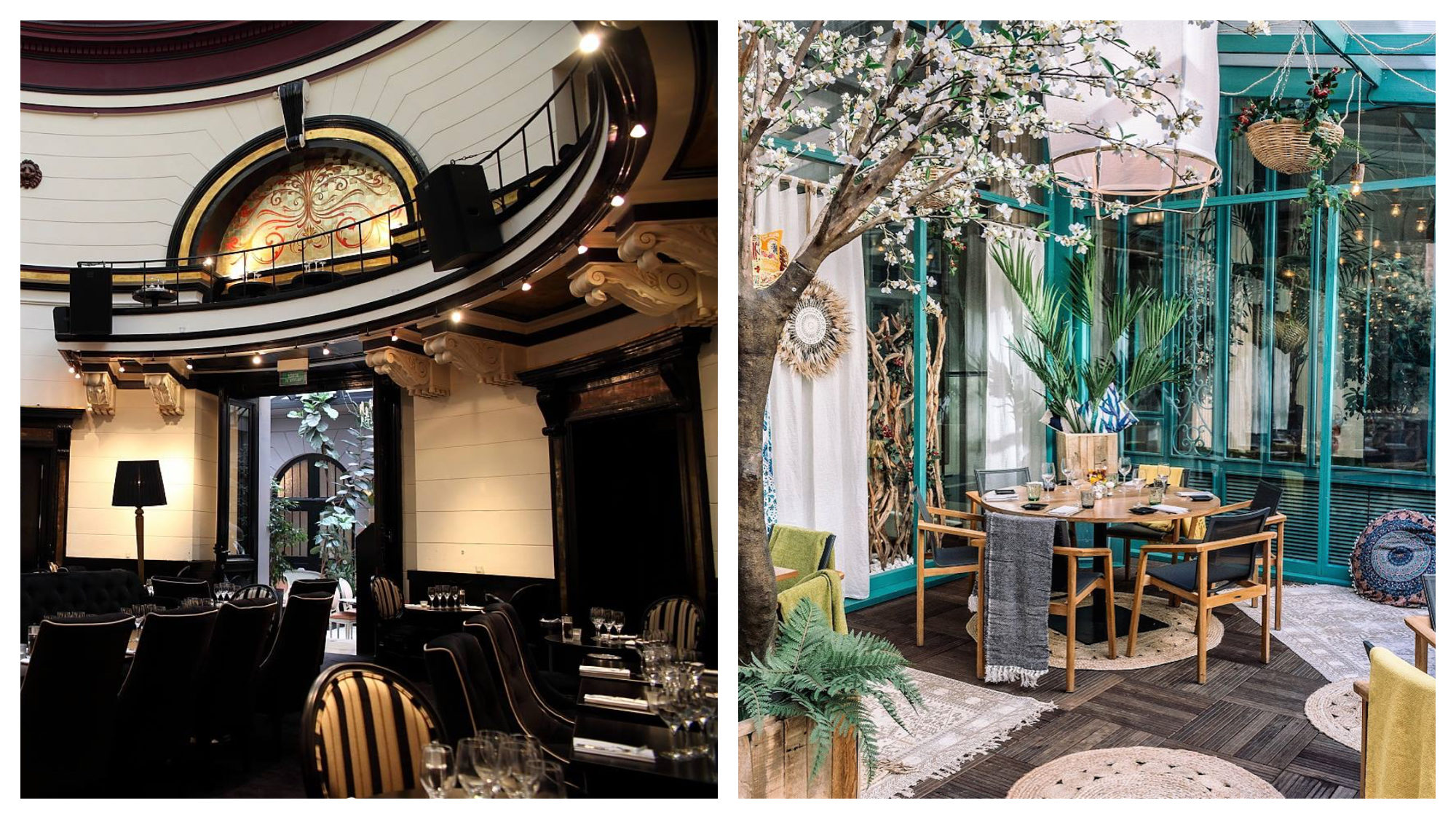 Inside the Dome du Marais restaurant (left) and the Westin Hotel Paris's winter garden with trees and lanterns (right).