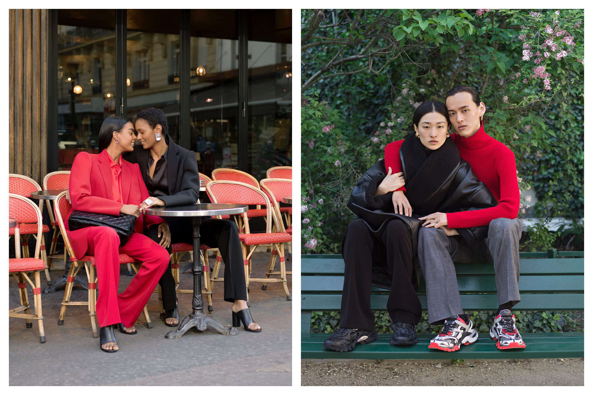 Two women at a Parisian bistro wearing red and black suits (left) and a man and woman sat on a bench wearing red and black from Paris Fashion Week by Balenciaga.