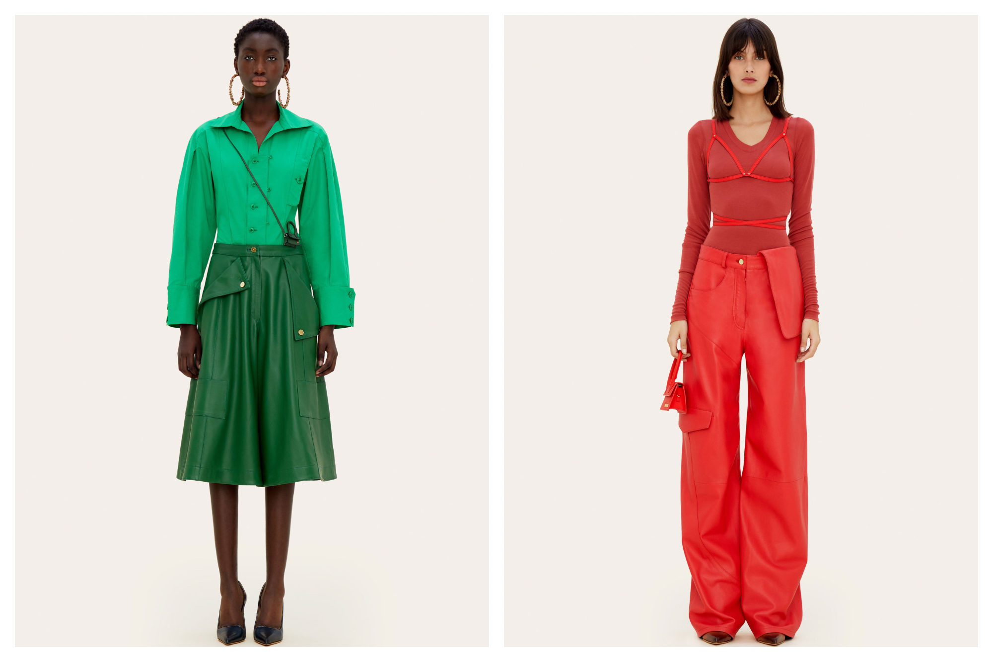 A black woman wearing a bright green blouse and skirt (left). A white woman wearing a bright red top and trousers (right), both by Jacquemus.