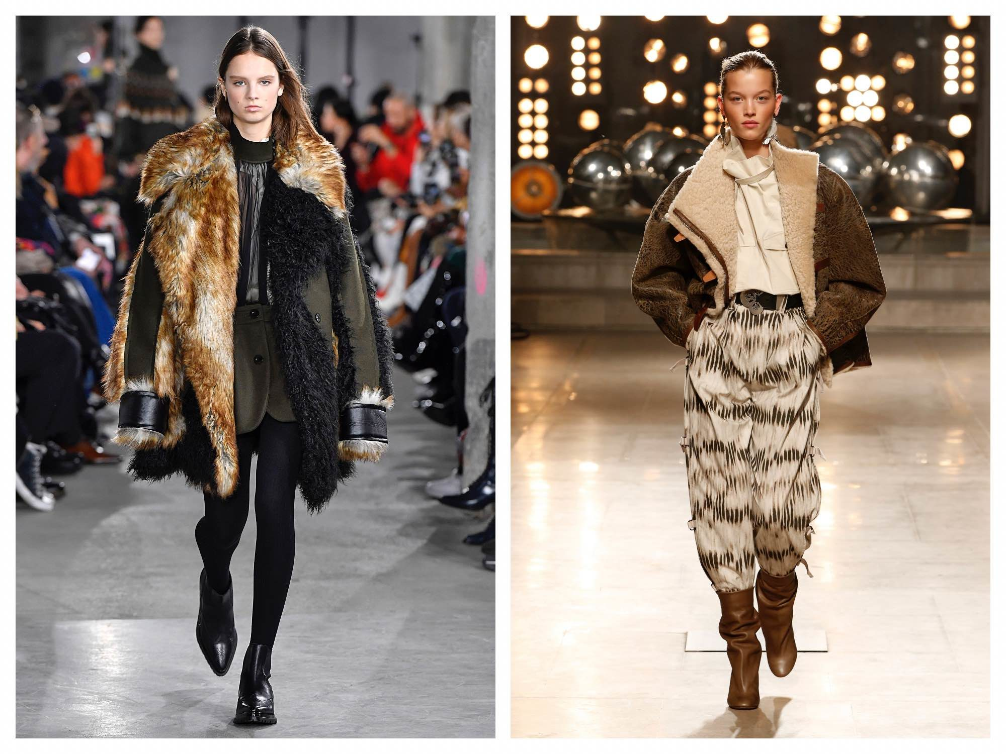 Parisian winter styles like fur coats by Sacai (left) and sheepskin by Isabel Marant (right) from Paris Fashion Week.