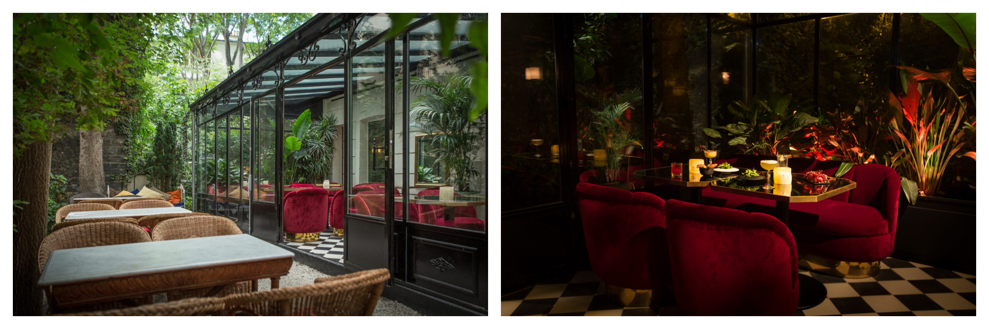 The conservatory at the Très Particulier bar and restaurant in Montmartre in Paris.