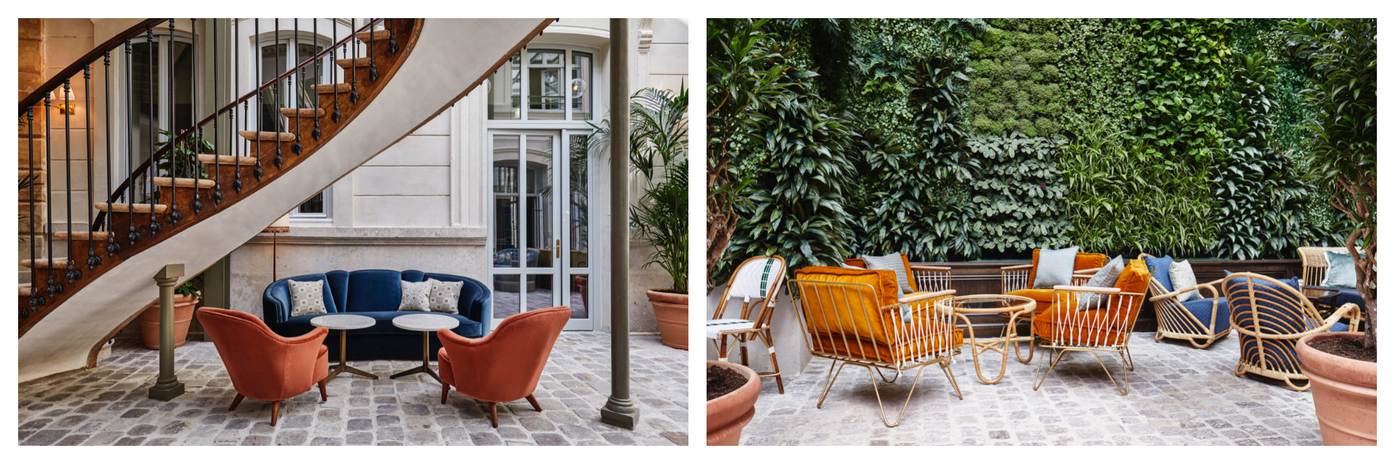 The iconic staircase at the Hoxton Paris Hotel (left) and the green wall at the hotel (right).