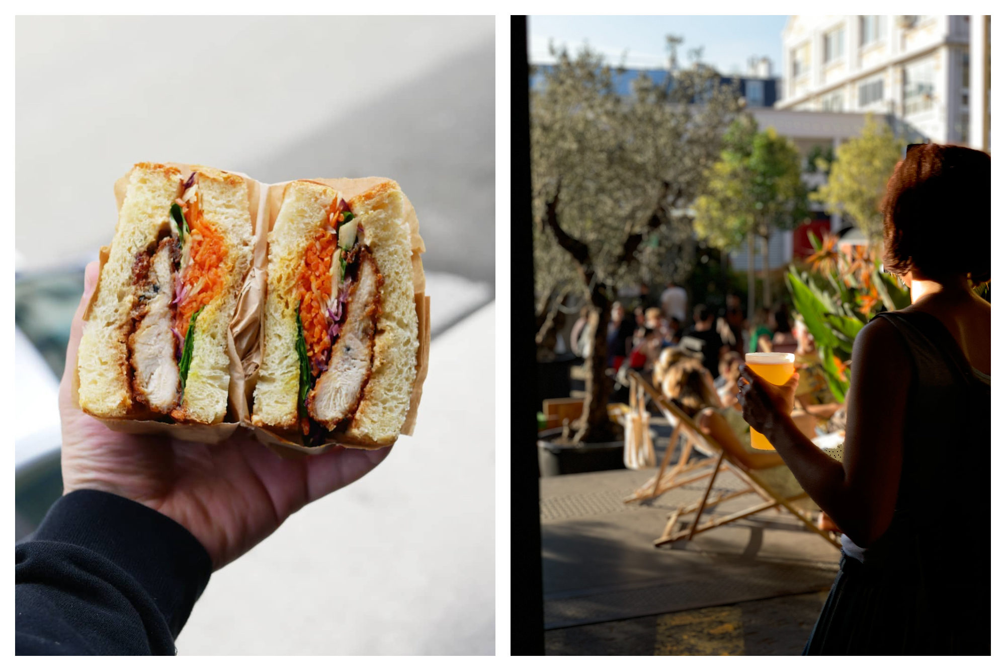 A hand holding a generously filled sandwich at La Felicita in Paris (left). People sunbathing in deck chairs, a woman holding a beer at Ground Control in Paris (right).