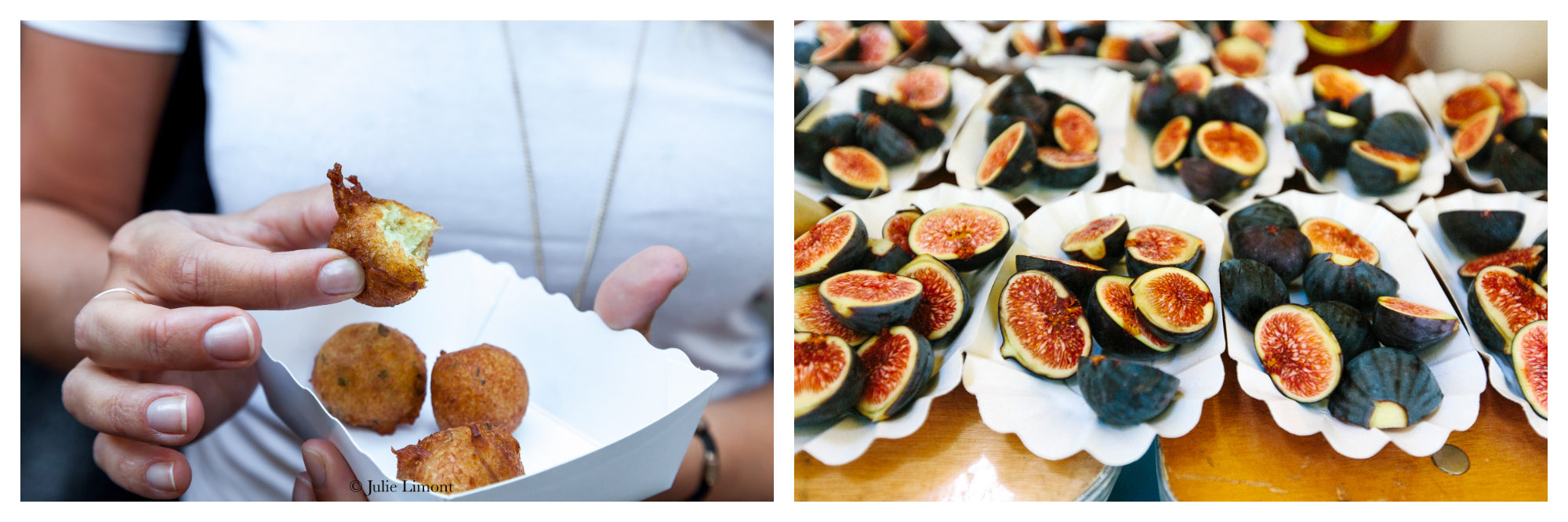 A woman tasting accras (left) and fresh figs (right) and Le Food Market in Paris.