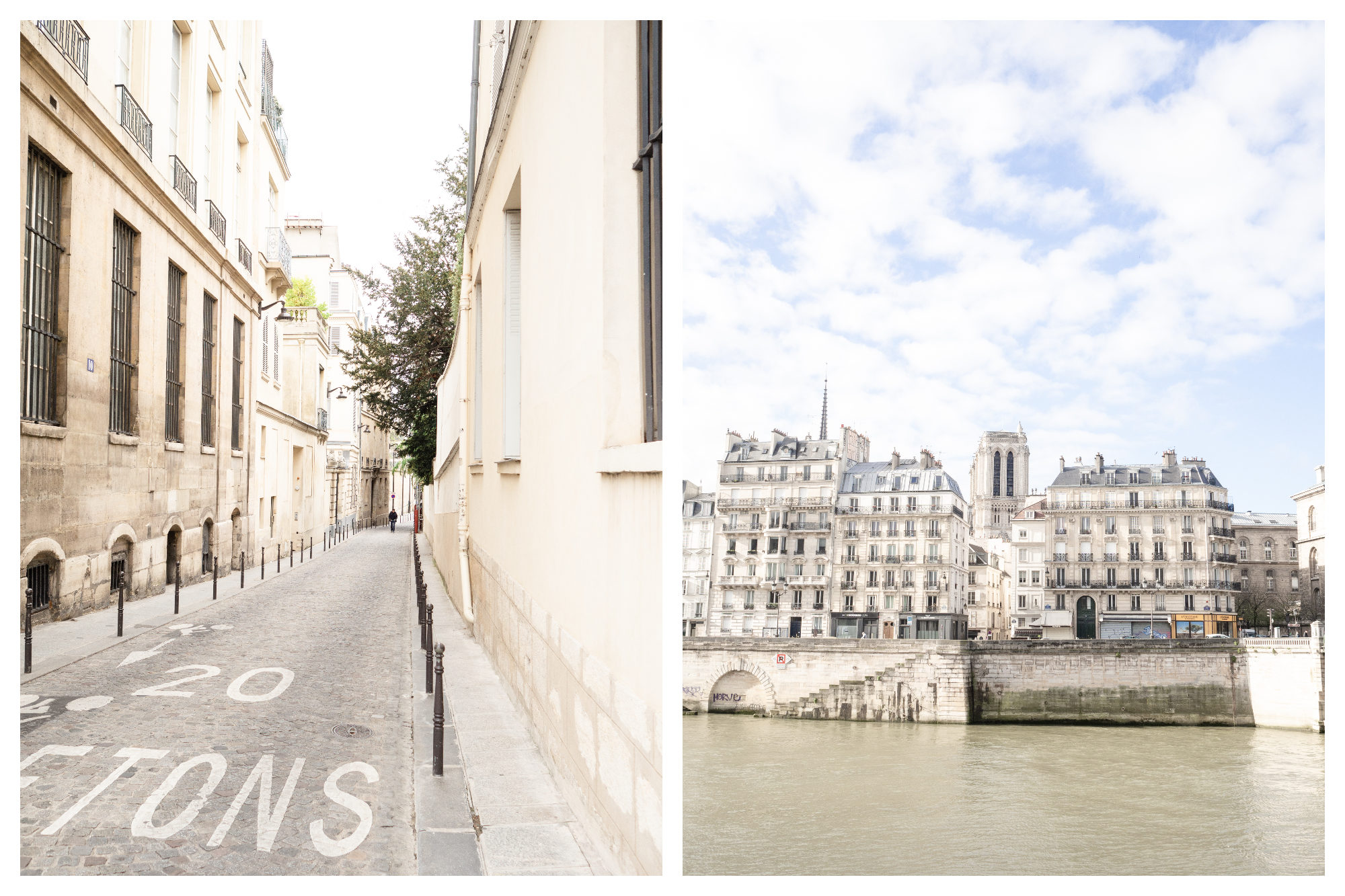 Cobblestone streets of Paris in the Marais (left) and a view of the beautiful stone buildings living the River Seine with Notre Dame peeping out from the top (right).