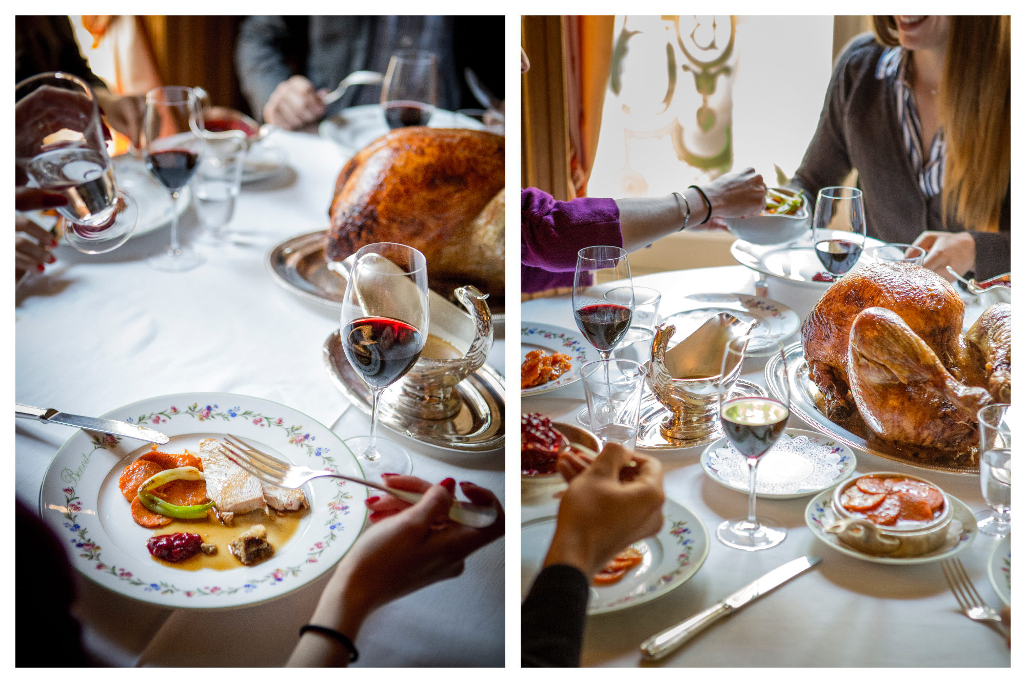 A beautiful Thanksgiving setting at Benoit in Paris, with people enjoying roast turkey and all the trimmings.