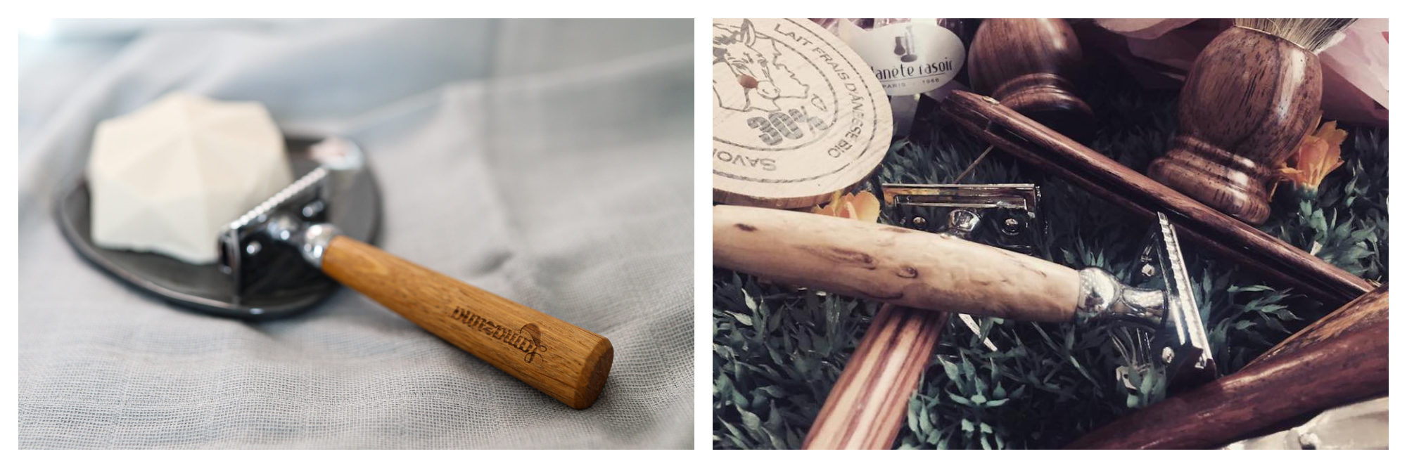 A French brand Lamazuna razor with wooden handle by a block of soap (left) and razors with wooden handles from Planète Rasoir (right).