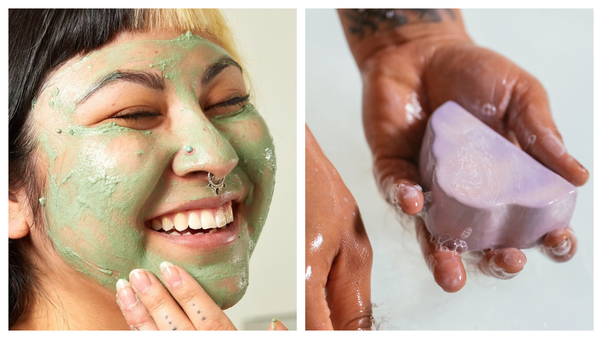 A Lush face mask applied to an Asian woman's smiling face with pearcings (left). A man holding a bar of pink Lush soap (right).