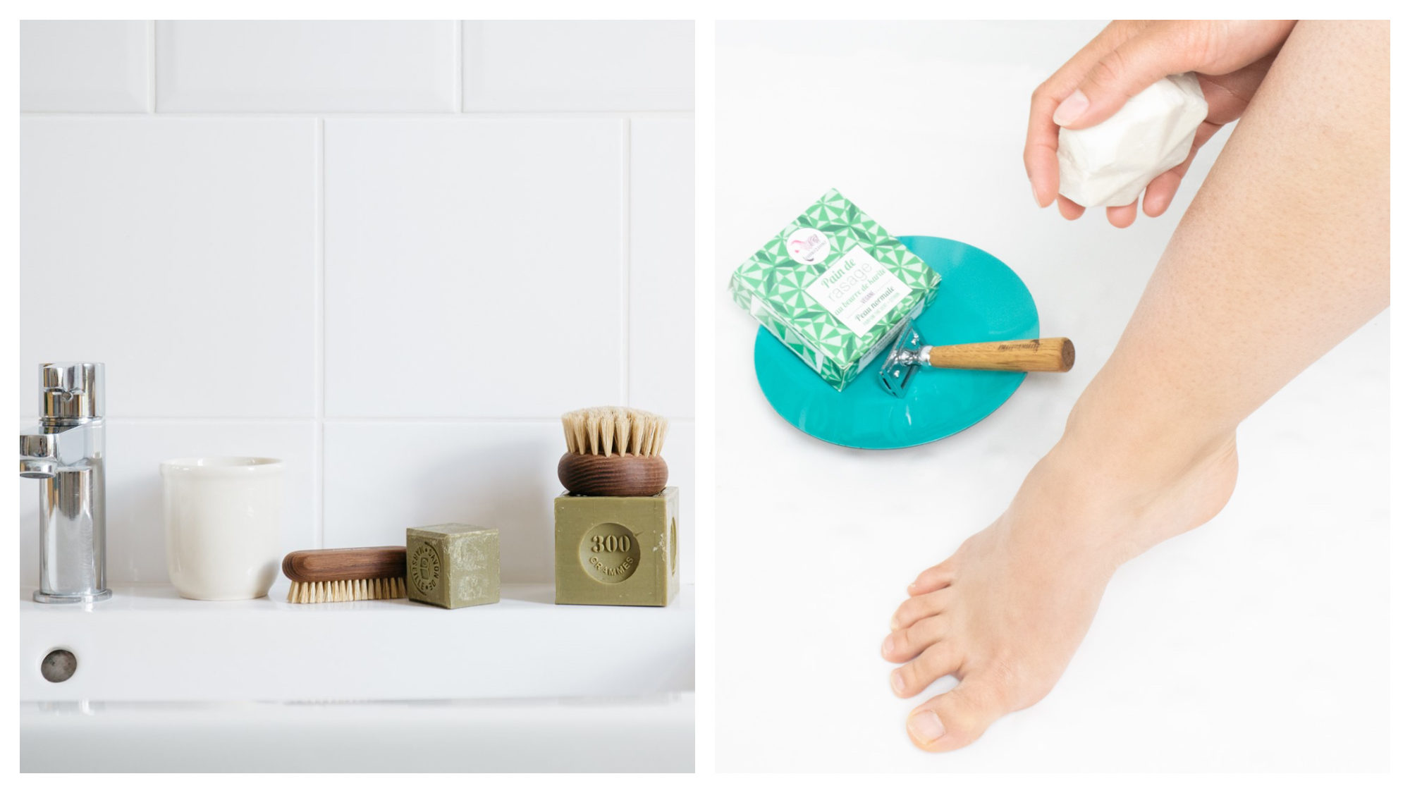 Olive Savon de Marseille block of soap and wooden bristle brushes in a white bathroom by Andrée Jardin (left). A woman's foot next to a Rasoir de Sureté razor with wooden handle (right).