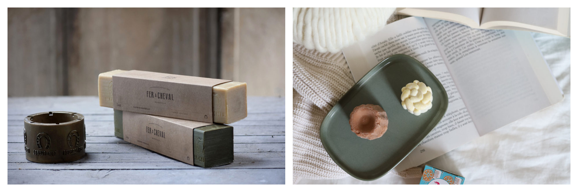 Luxury bars of soap from French brand Fer à Cheval (left) and solid shampoo and body cream by Lamazuna in Paris 'right).