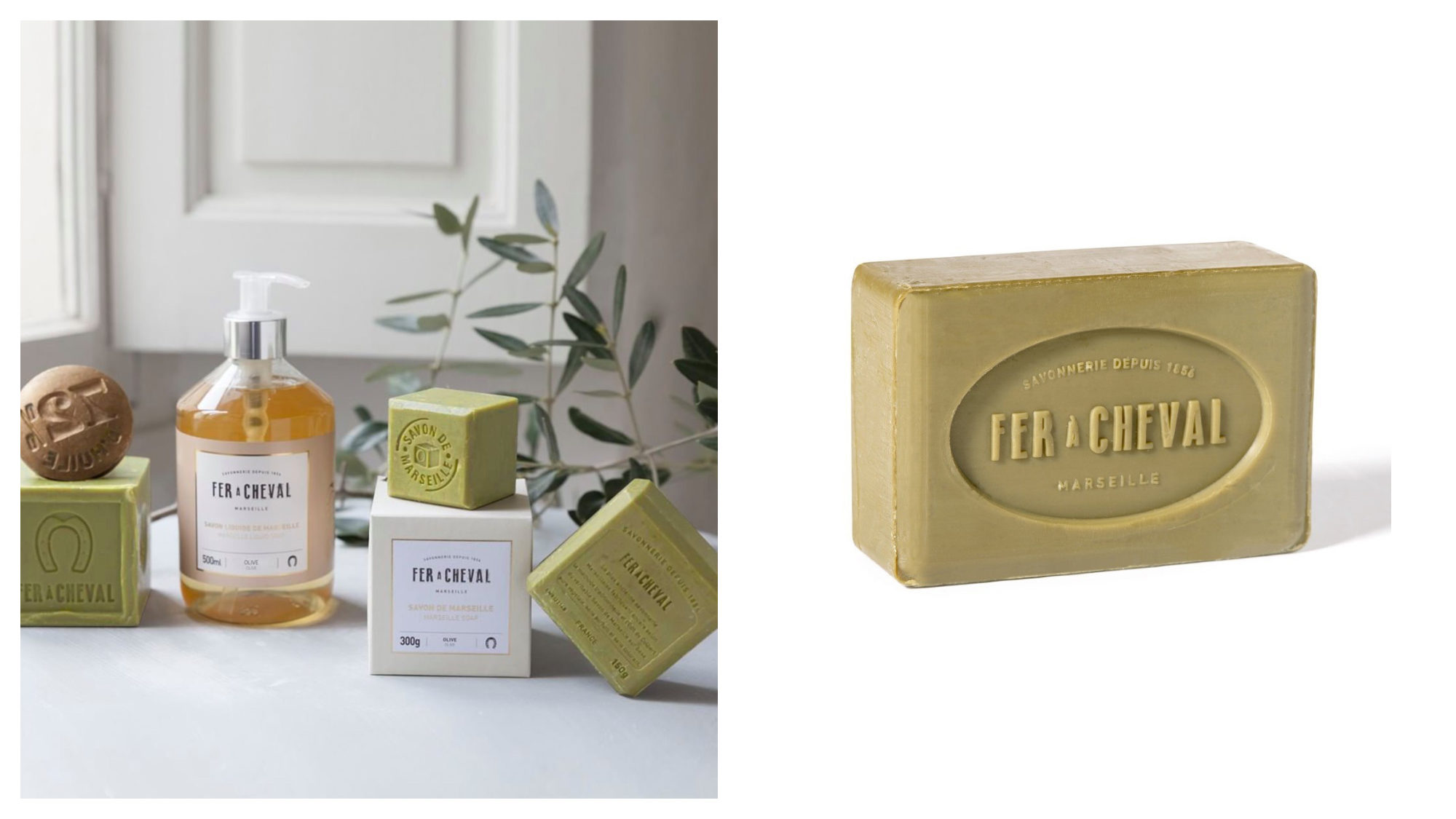Beautifully presented olive Savon de Marseille blocks and handsoap by Fleux in Paris (left). A block of soap by French brand Fer à Cheval (right).