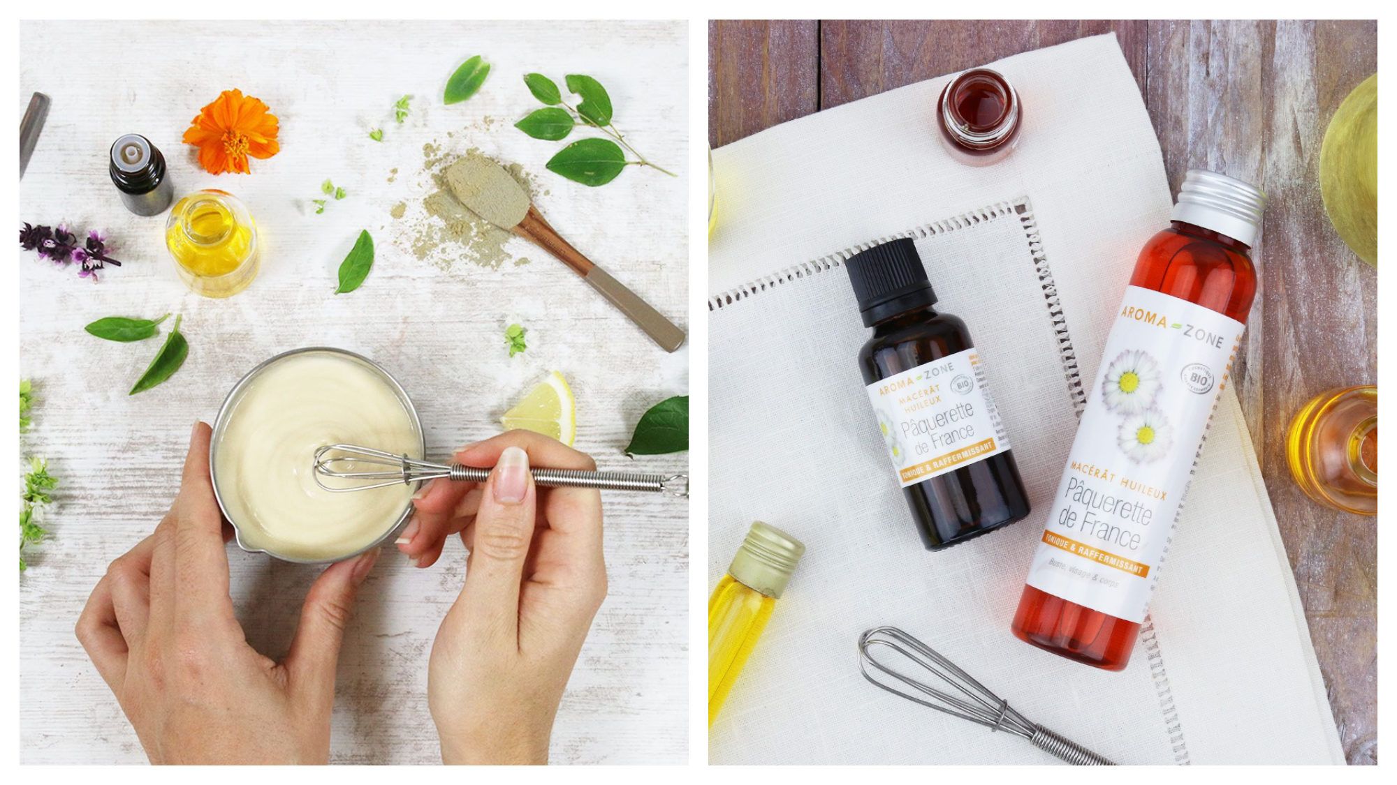 Parisian organic beauty store Aroma Zone's DIY products being mixed by a woman (left) and bottles of oils and ointments laid out on a wooden table (right).