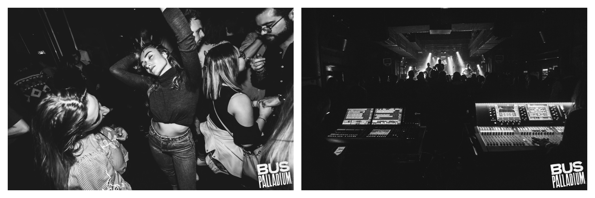 A black and white image of a woman dancing with her eyes closed, arms raised in a night club (left). A black and white image of the sound boot at a night club (right).
