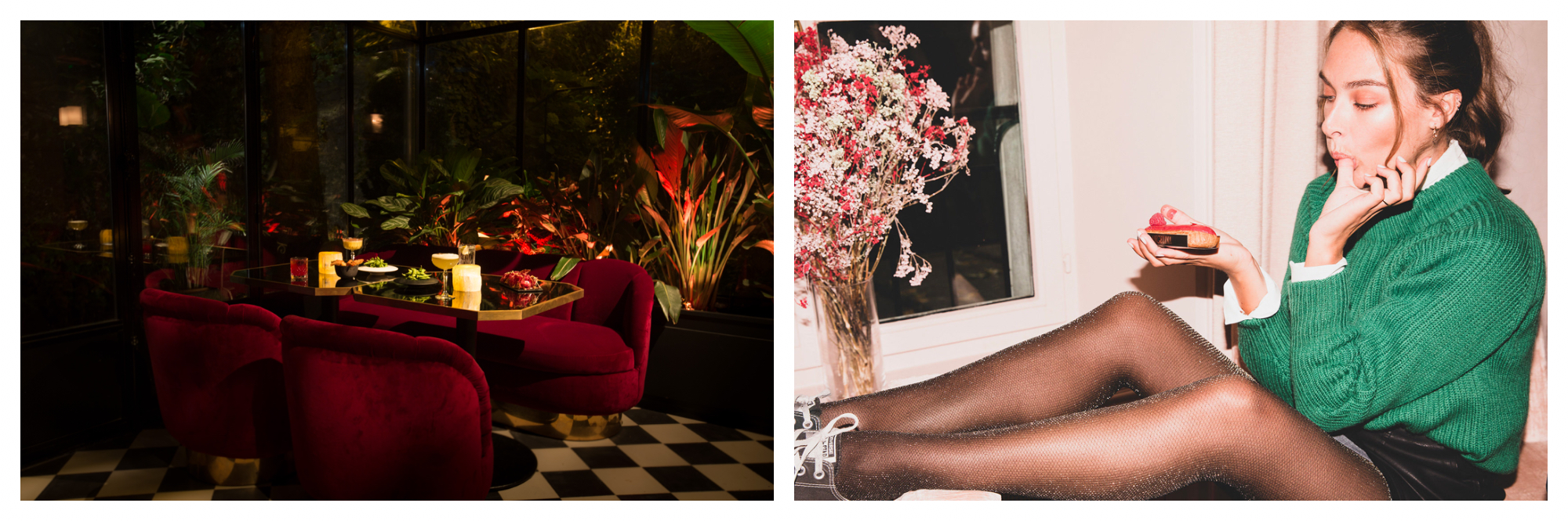 The interior of a conservatory bar at night, red velvet seats, black and white tiled floor, plants outside the glass windows and cocktails on the table (left). A woman with her feet up on a table eating a cake (right).