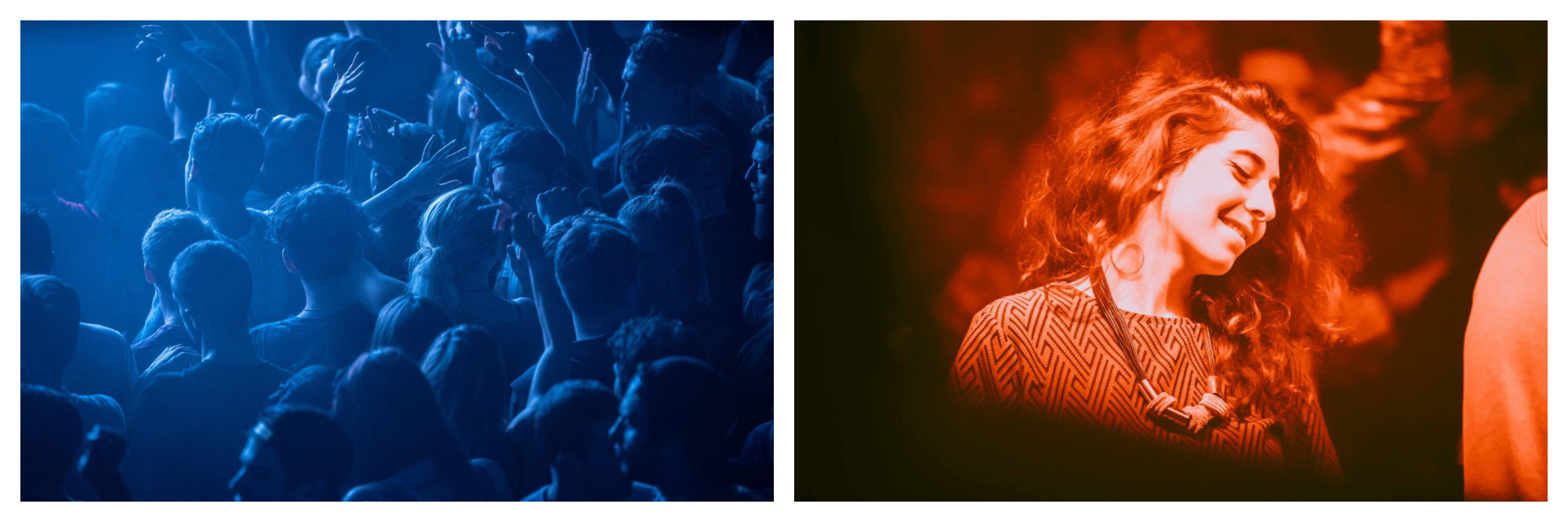 A blue hued image of people dancing with their hands in the air at a night club (left). A red hued image of a woman dancing with her eyes closed at a nightclub (right).