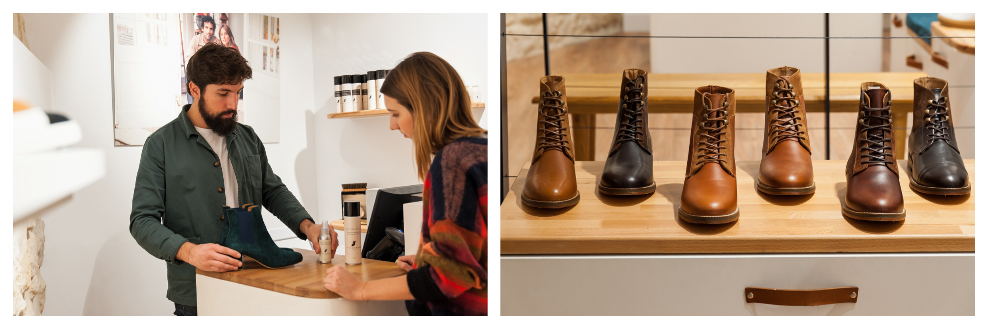 A shop assistant is putting a pair of shoes through the till for a customer (left). A row of shiny leather boots at French shoe shop Pied de Biche (right).
