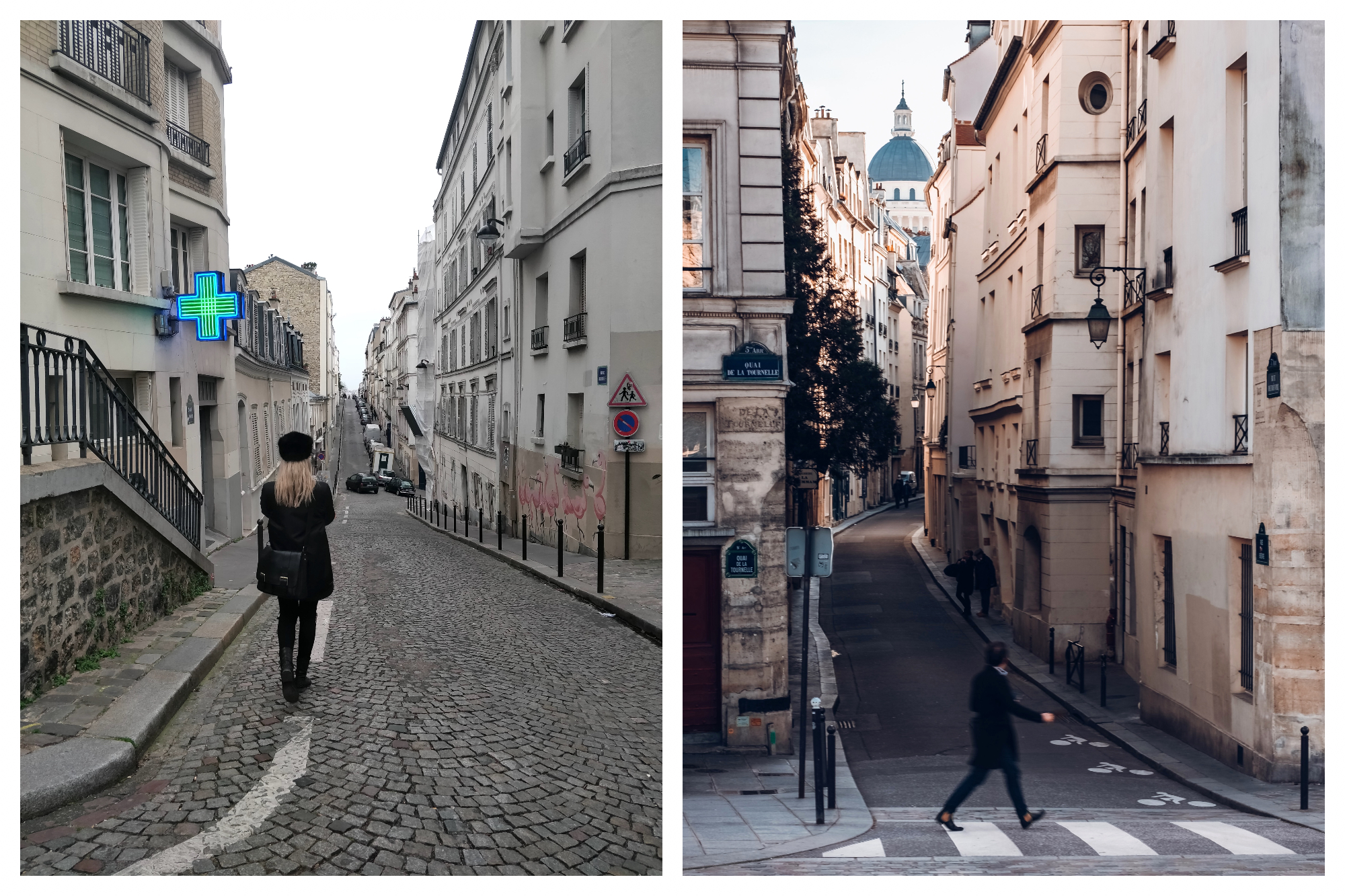 On the left: A blonde-haired woman, dressed in a classic black outfit, walks down a cobbled sweet in Paris, past a pharmacy and mural of pink flamingos. On the right: A man crosses the street in the Latin Quarter of Paris, the dome of the Pantheon visible in the background.