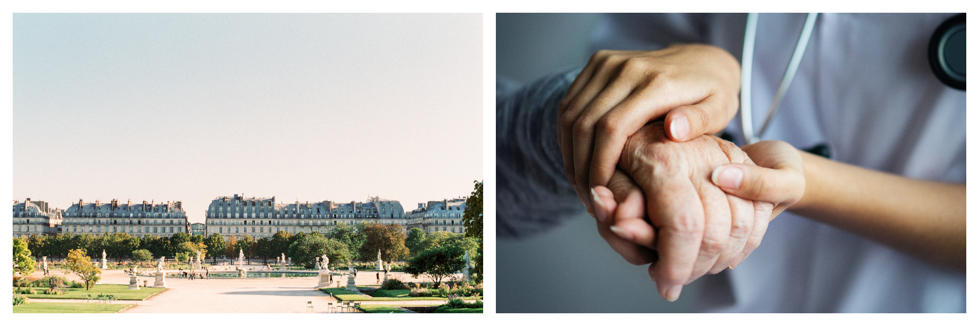 On the left: The sun illuminates the Jardin des Tuileries as people mill around the central fountain by the Louvre. On the left: A doctor gently applies pressure to a patient's hand to perform an evaluation.