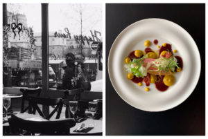 A black and white photo taken from the inside of a restaurant looking out the windows, there are Christmas decorations painted on the window (left). A bird's eye view of a white dish with a piece of fish in the middle topped with fennel and rocket, with spots of yellow and red sauce dotted around it (right).