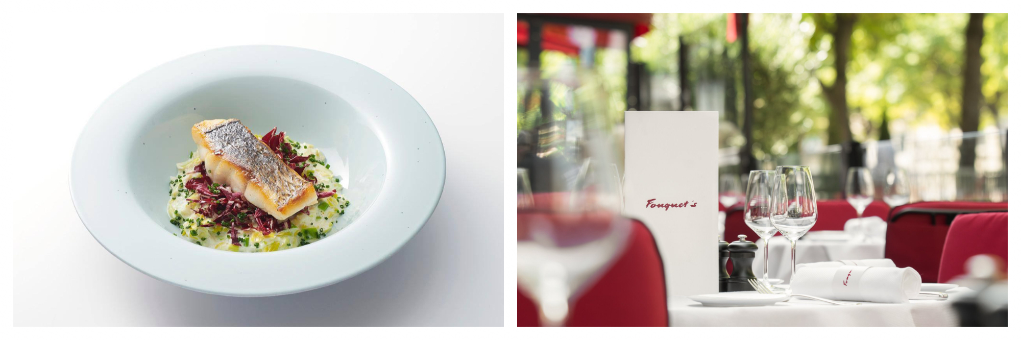 A white dish with seared salmon on top of salad (left). A table covered with a white tablecloth with wine classes, white serviettes and red chairs with a menu for the restaurant Foquet's in Paris.