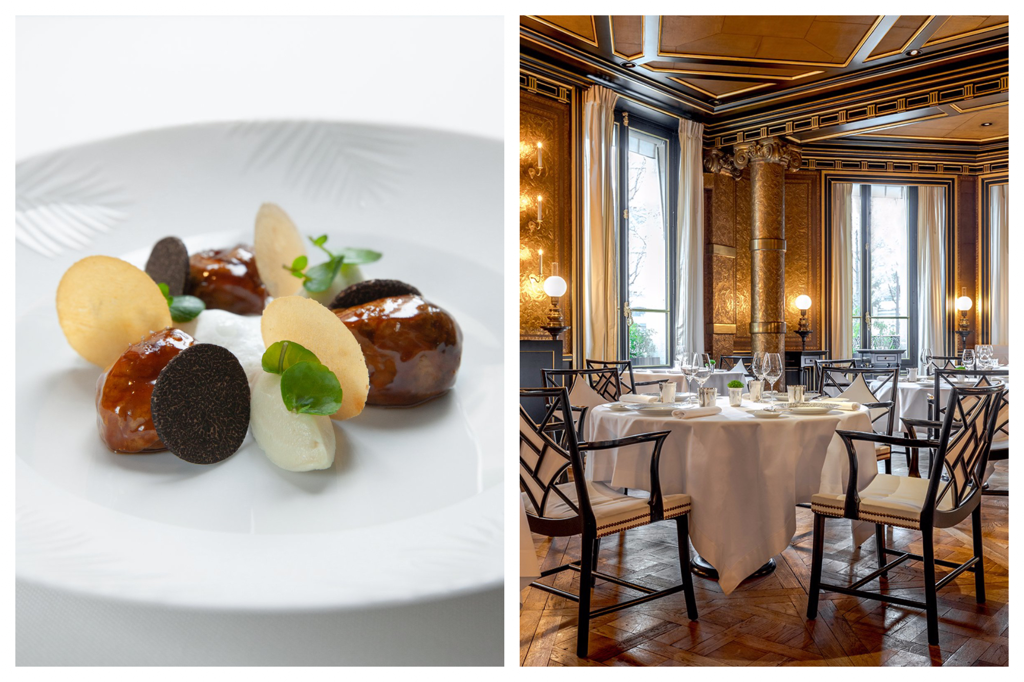 A plate of food from the restaurant Le Gabriel in Paris (left). The opulent interior of Le Gabriel, tables with white tablecloths, napkins and wine glasses, black and white Art Deco style chairs, in a room with gold walls and wood panelled roof in Art Deco style (right).