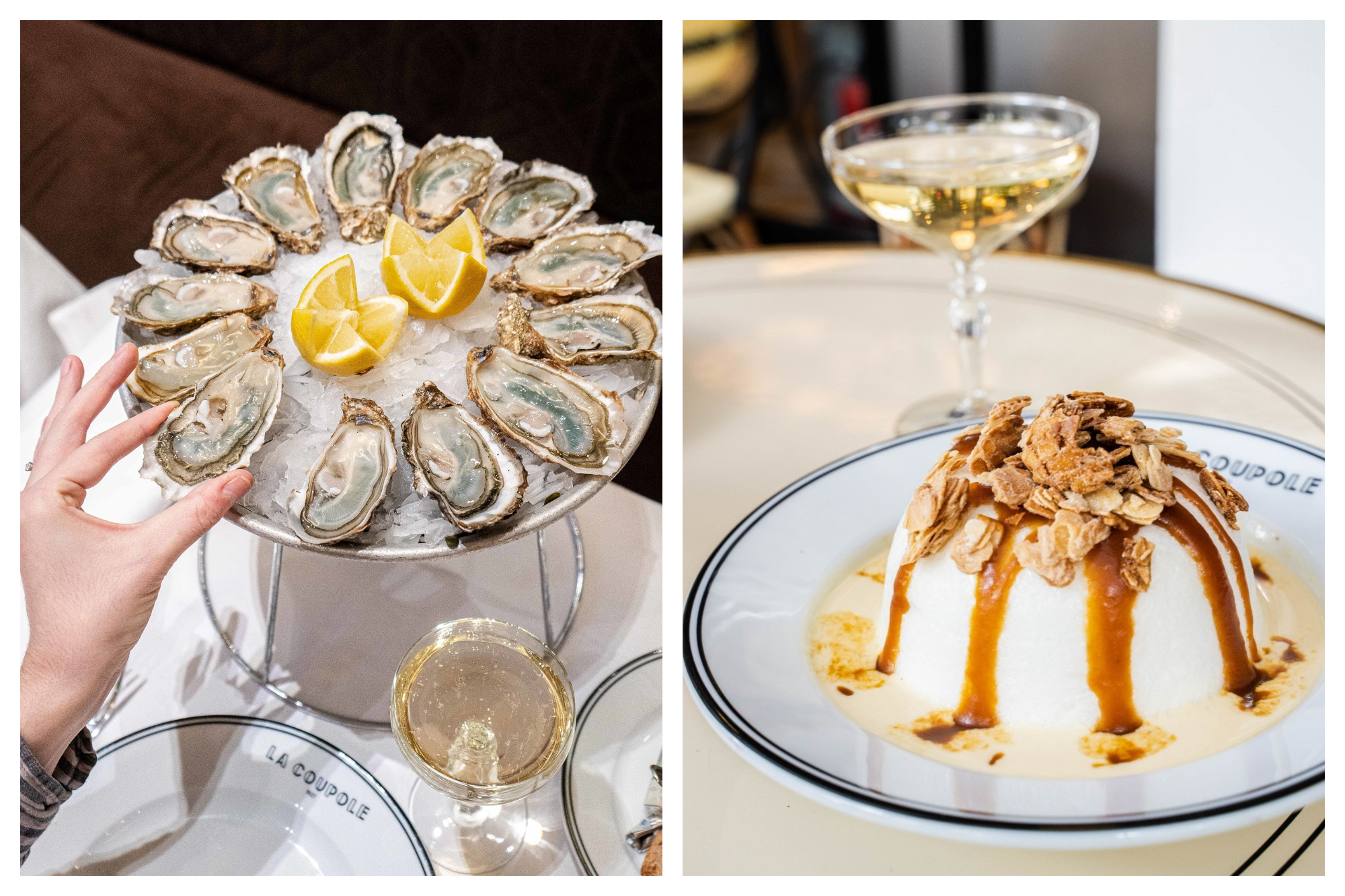 A dish of oysters served on ice with lemon in the middle, a hand is taking an oyster. A plate with the name of the restaurant, La Coupole, on it and a glass of white wine (left). A dish with the dessert Ile Flottante and the name of the restaurant, La Coupole, on it with a glass of white wine (right).