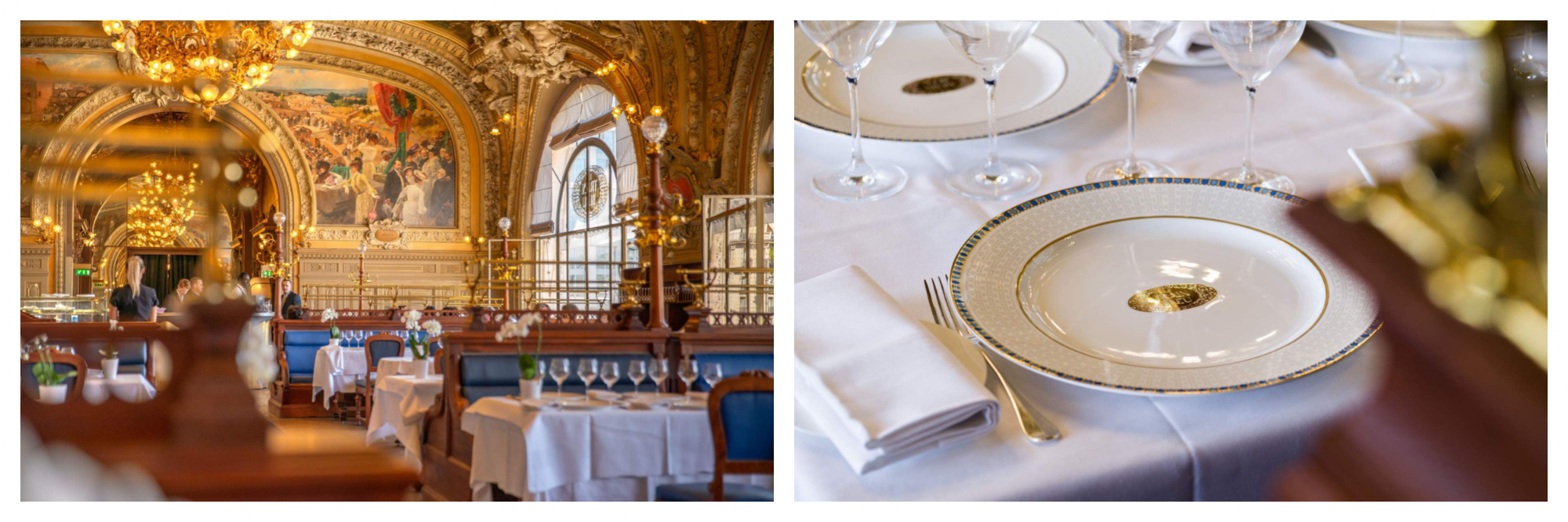 The opulent interior of the restaurant Le Train Bleu in Paris, featuring painted frescos and gold chandeliers (left). A table setting at Le Train Bleu, a white tablecloth with white napkin, cutlery, wine glasses and a white plate with blue and gold detailing and the logo of the restaurant in the middle (right).