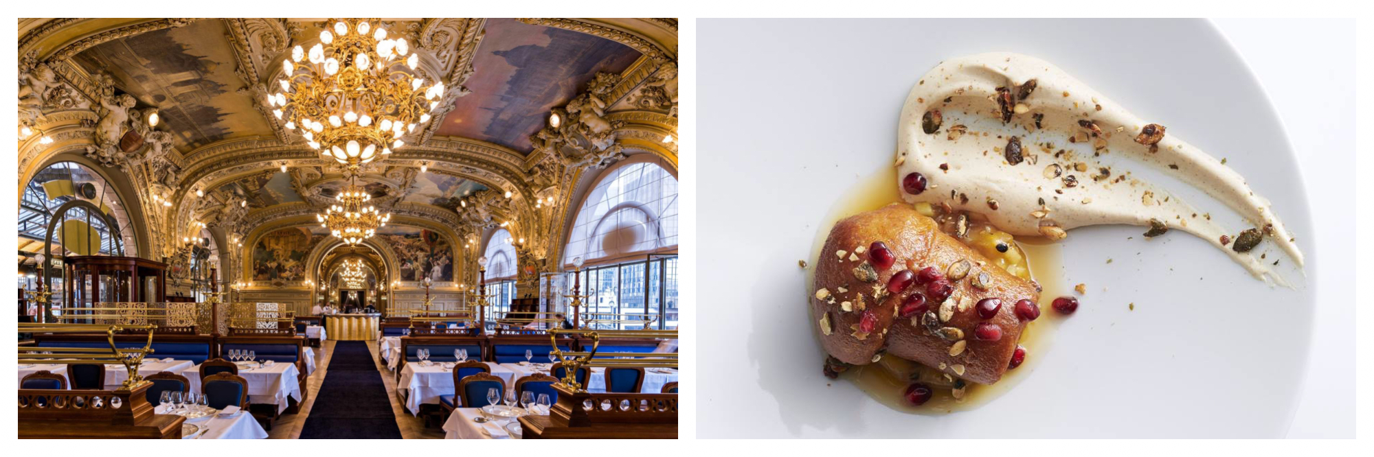 The opulent interior of the restaurant Le Train Bleu in Paris, featuring painted frescos and gold chandeliers (left). A bird's eye view of the rum baba dessert from the restaurant Fouquet's in Paris (right).