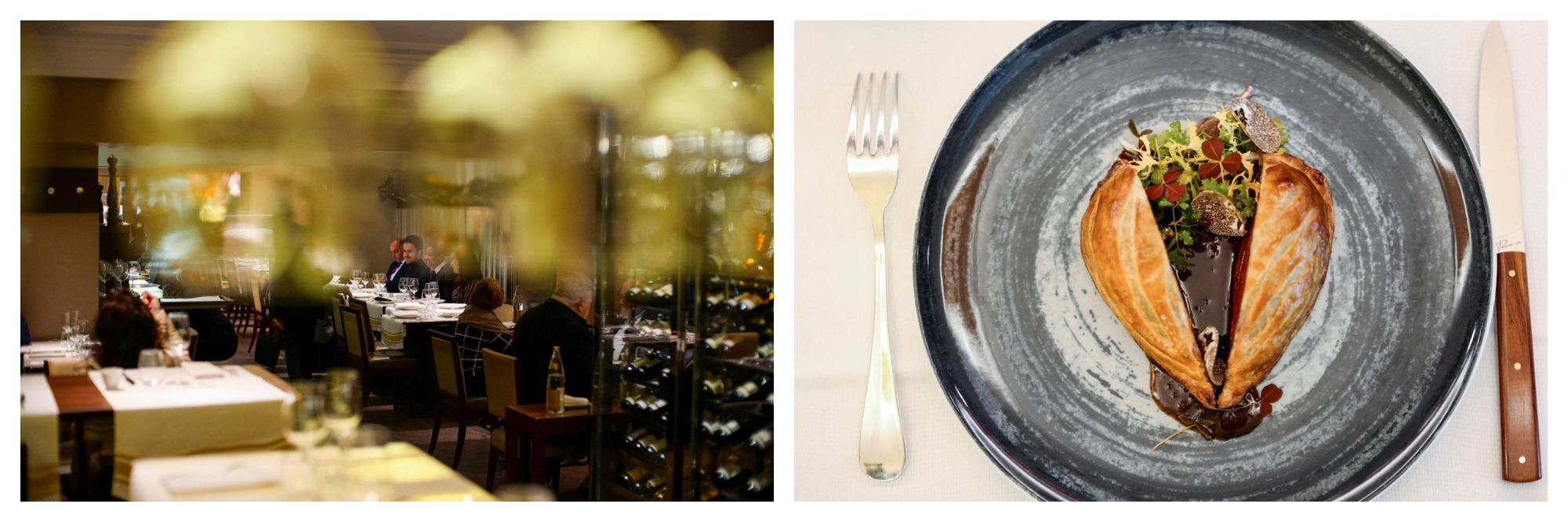 The exterior of the restaurant Le Violon d'Ingres in Paris with people sitting at tables and wine fridges (left). A bird's eye view of a grey plate with cutlery on either side, with a wellington, salad and sauce in the middle (right).