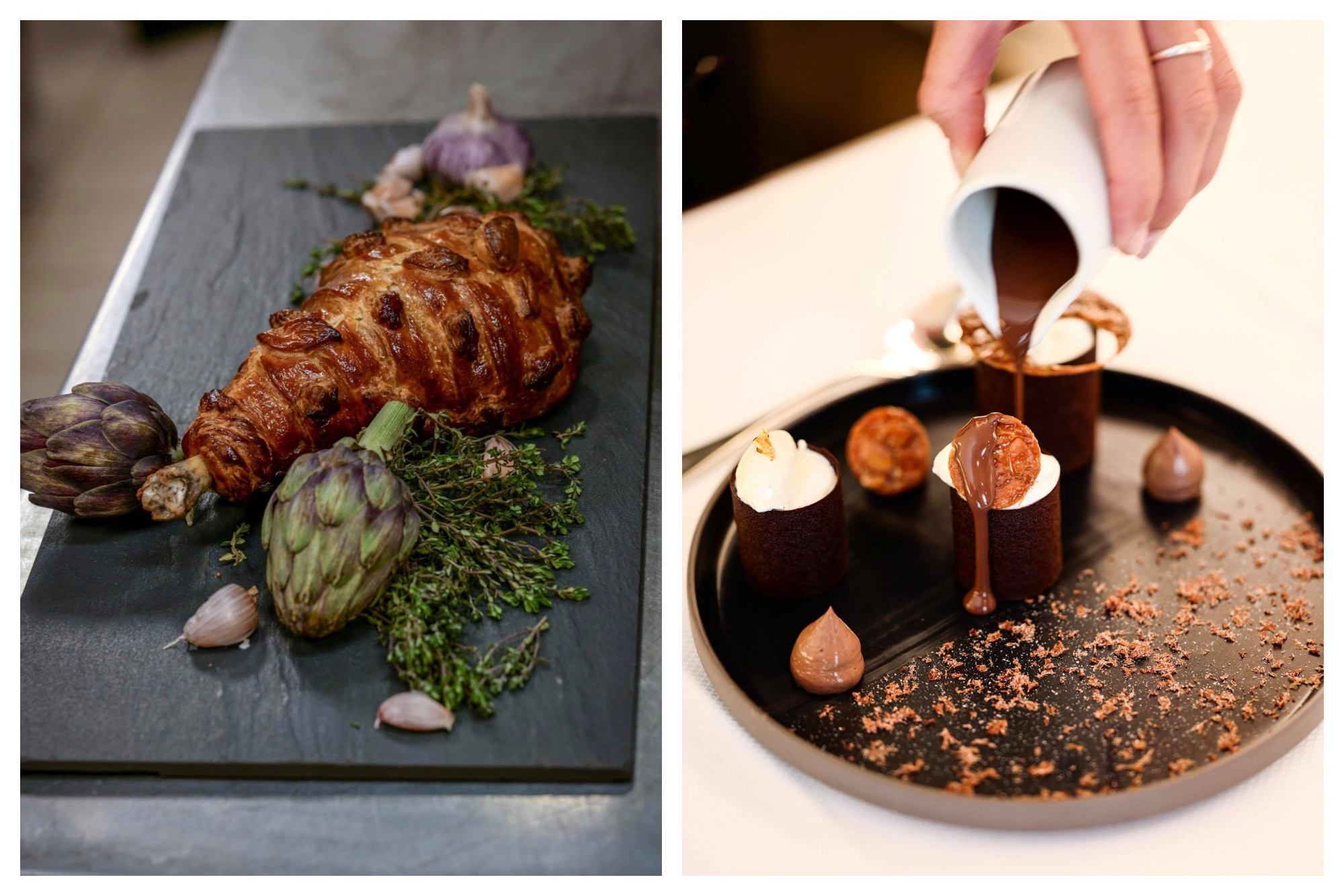 A large rectangular black plate with a leg of lamb cooked in pastry next to an artichoke, garlic and herbs (left). A plate with a version of the dessert La Dame Blanche, cylinders of chocolate with a white interior, spots of chocolate mousse, chocolate powder and a hand is pouring chocolate sauce over the top from a white jug (right).