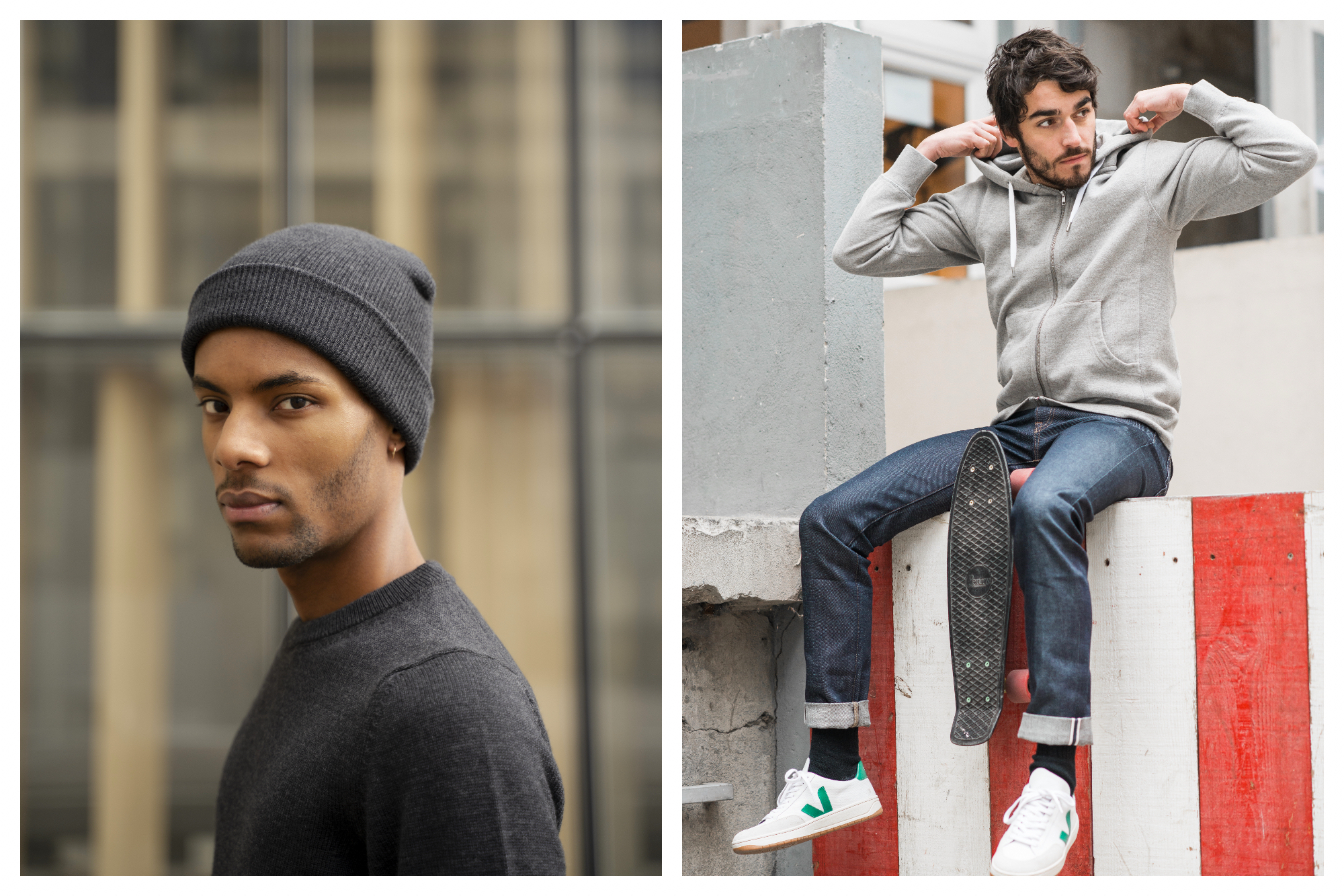 On left, a male model sports a ribbed, dark-grey beanie and a sweater from the ethical French fashion brand Loom. On right, a male model sits on a red and white striped wall, skateboard between his legs, sporting cuffed jeans. He adjusts his grey hoodie, both from ethical French fashion brand Loom.