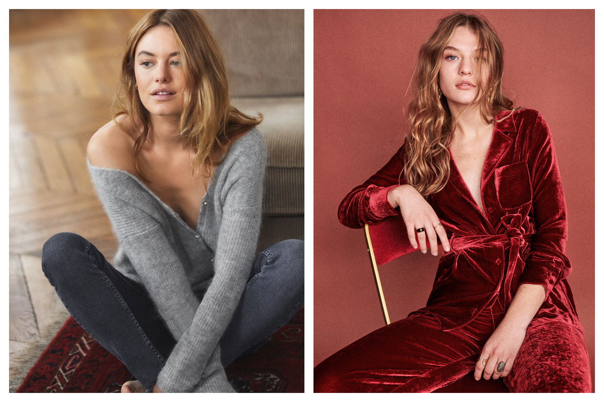 On the left: A model cozies up on a rug next to a recliner, arms and legs folded. A ribbed- v-neck, fuzzy grey sweater by the Paris-based fashion brand Sézane gently slips off her right shoulder. On the right: Against a dusty red backdrop and sitting casually on a red and gold chair, a model stares at the camera sporting a deep red velvet pyjama set, the top unbuttoned with a deep v-neck, but cheekily tied at the waist.