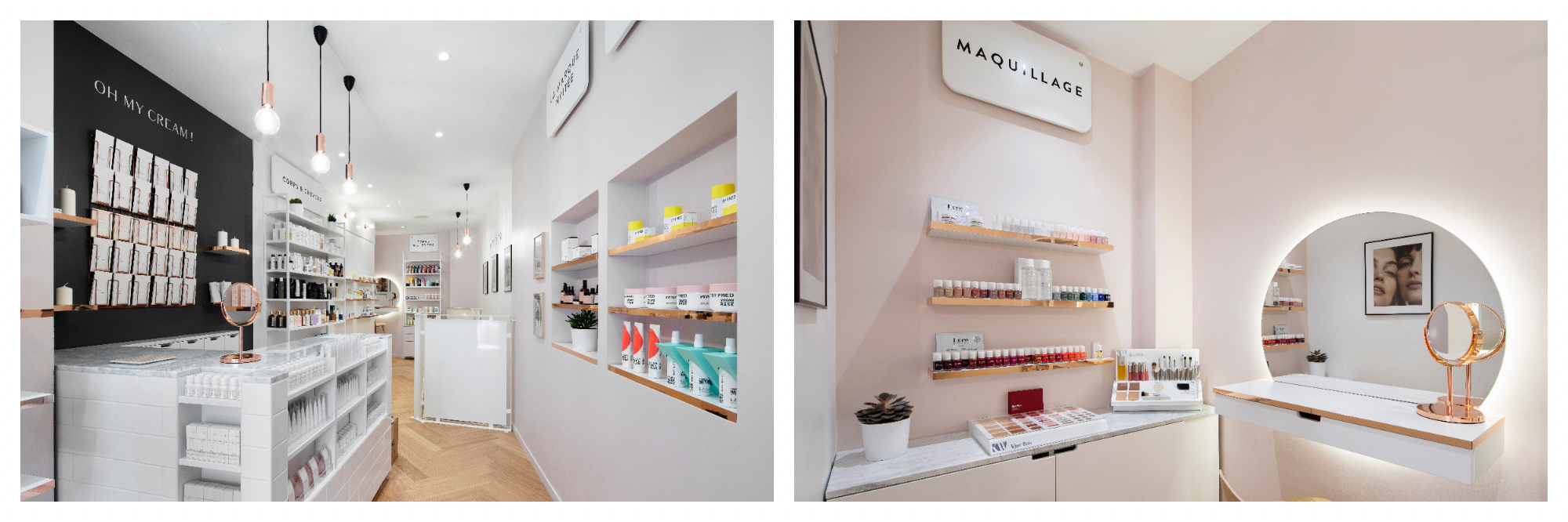 On the left there is a photo of the interior of Oh My Cream's cheerful shop which has light walls, parquet floors, one black accent wall and accents of the brands packaging in pastel pink, yellow, and turqoise neatly displayed throughout the store. On the right is a close up of the make-up section of their store which is a small alcove with mirrors, light pink walls and a white accent wall, along with a display of very small colourful jars.