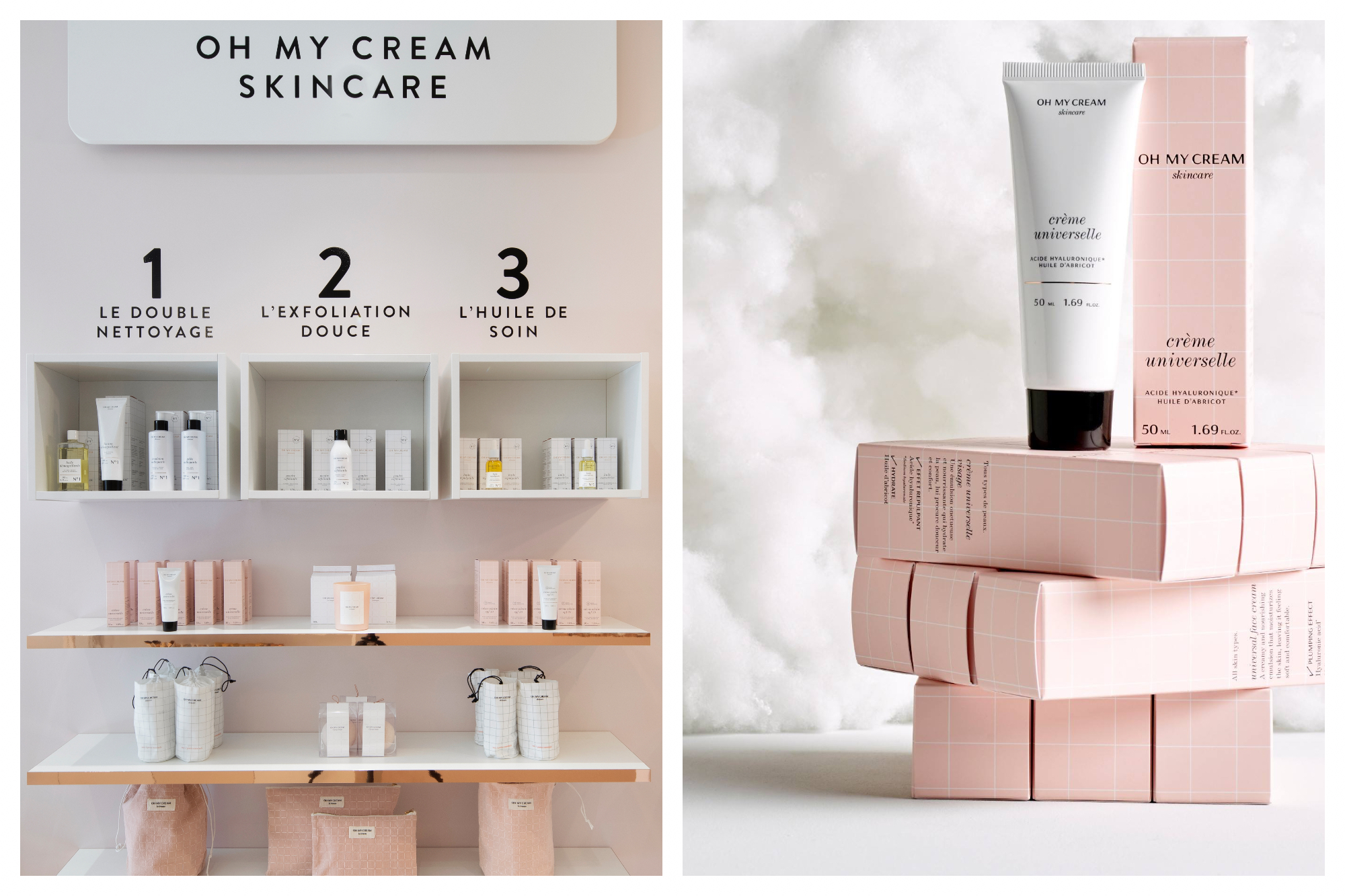 On the left is a display wall from the interior of one of Oh My Cream' Parisian stores, with a number of shelves with neatly displayed products. On the right is a stack of  several pink boxes of their 'Crème Universelle' against a white cotton background.