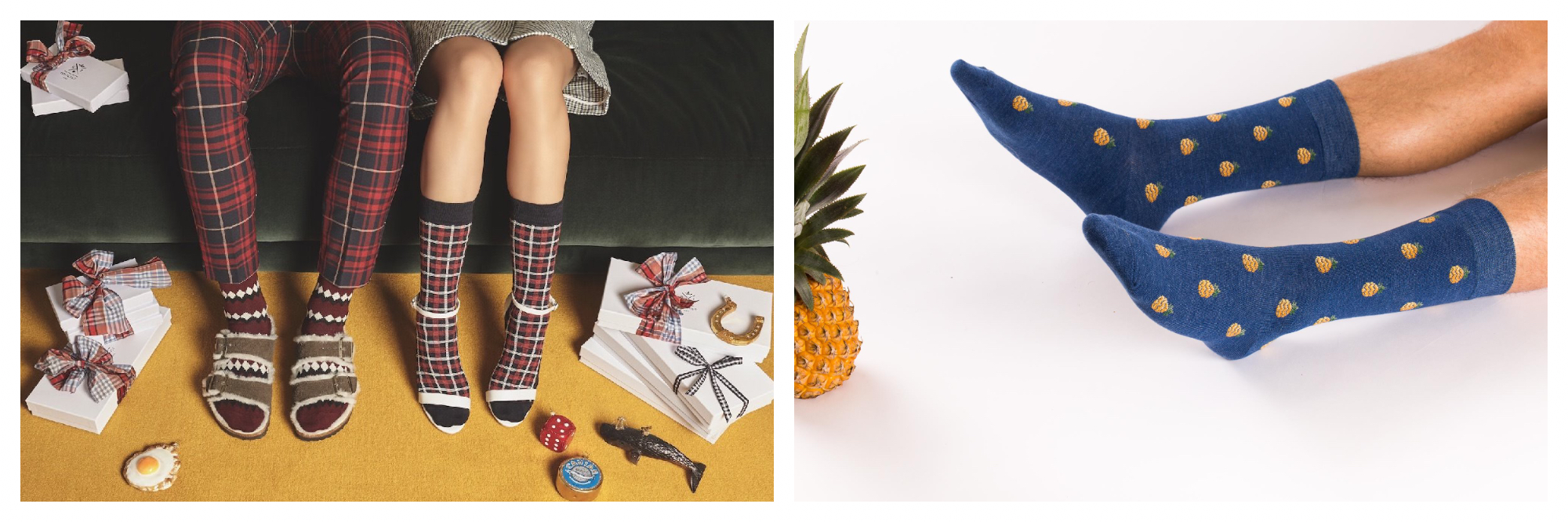 On the left there are two sets of legs depicting two people sitting down, wearing Christmas socks - one dressed in plaid trousers and one in a short skirt, both surrounded by Christmas presents and various items. On the right is a set of bare male legs from the knee down, reclining on the floor with blue socks decorated with little pineapples on them. There is a pineapple just next to the person's feet.