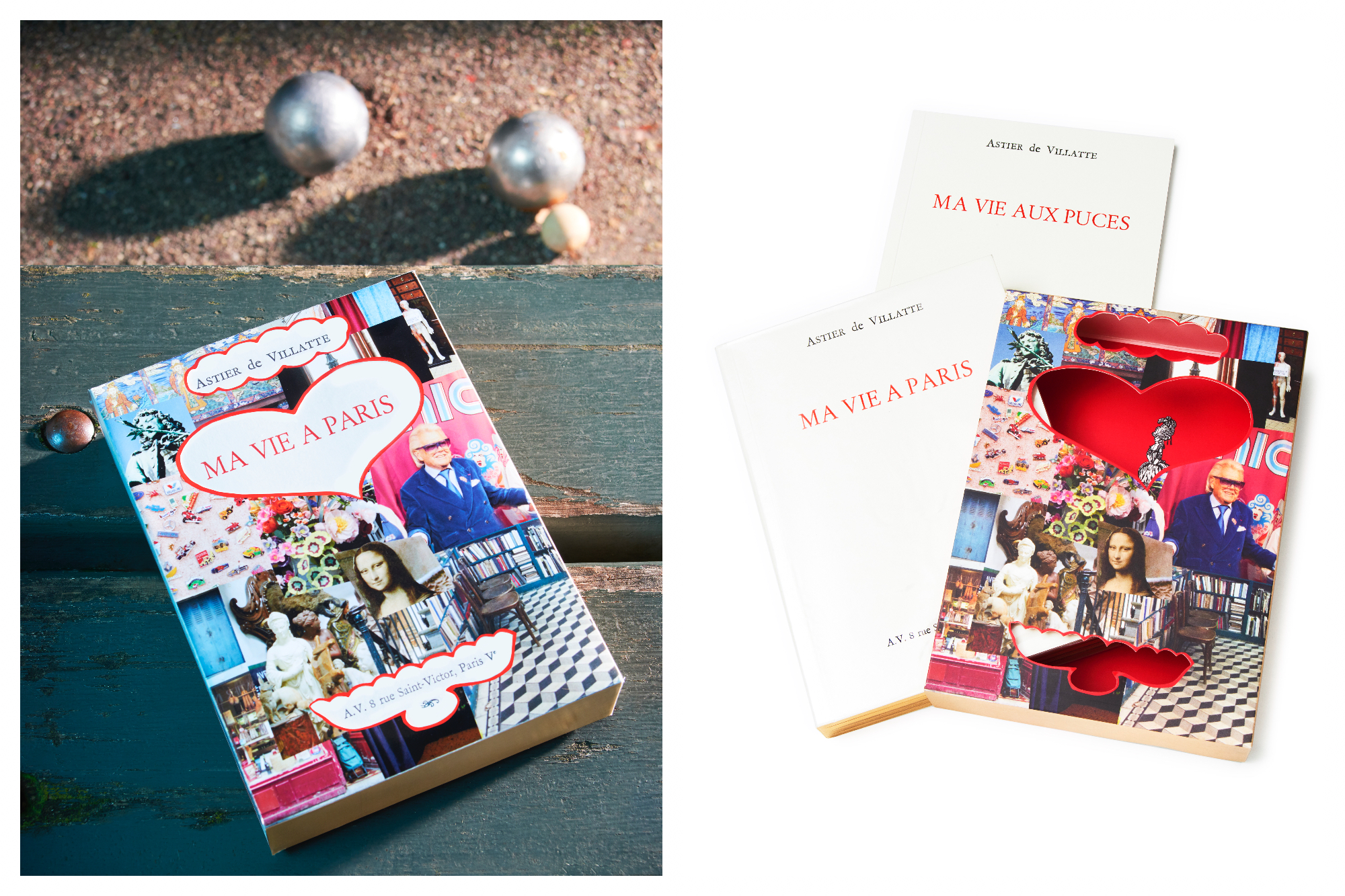On the left is a copy of Astier de Villate's Ma Vie a Paris, sat on a wooden bench, below which are a few Petanque balls on sandy ground. On the right are a copies of Ma Vie a Paris and Ma Vie Aux Puces.