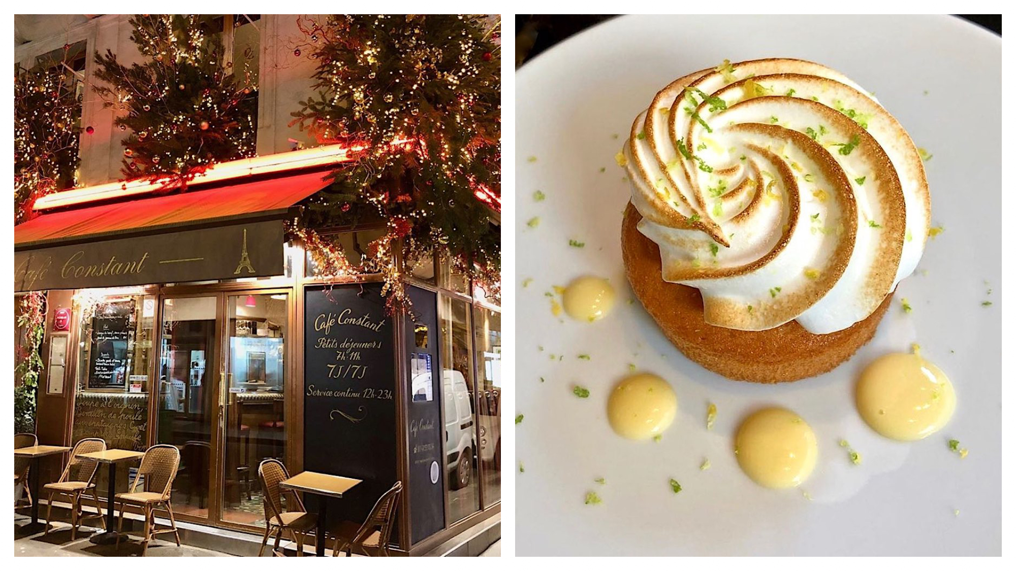 On the left: Café Constant in Paris decorates for Christmas with three sparkling Christmas trees on its facade. On the right, the café's luscious lemon tart sits under a crown of toasted meringue.