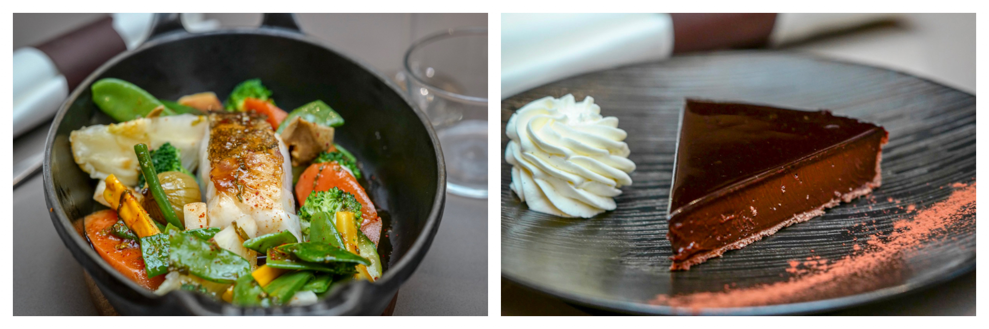 On the left, Les Cocottes in Paris offers seared fish with spring vegetables. On the right, the restaurant's creamy chocolate torte.