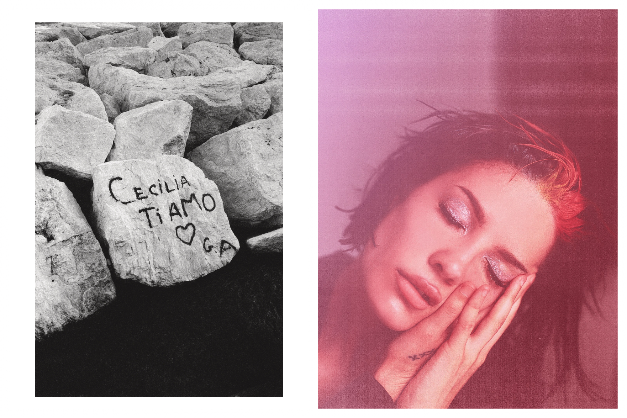 Left, names engraved in a grey rock (left). Right, a pink portrait of a girl closing er eyes with sparkly eyeshadow.